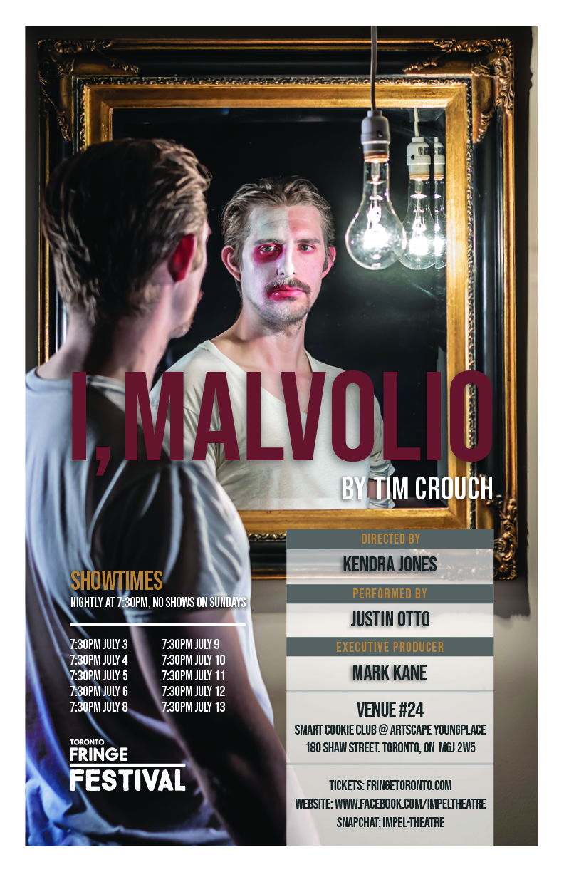Justin Otto is Malvolio in Tim Crouch's I, Malvolio Photo by John Gundy, Poster by Electric Monks