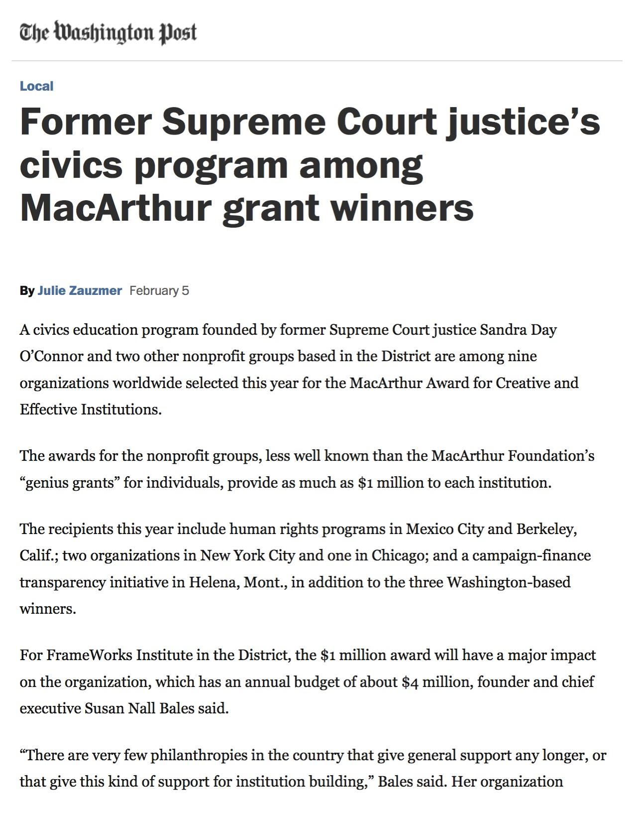 News: iCivics, Washington Post