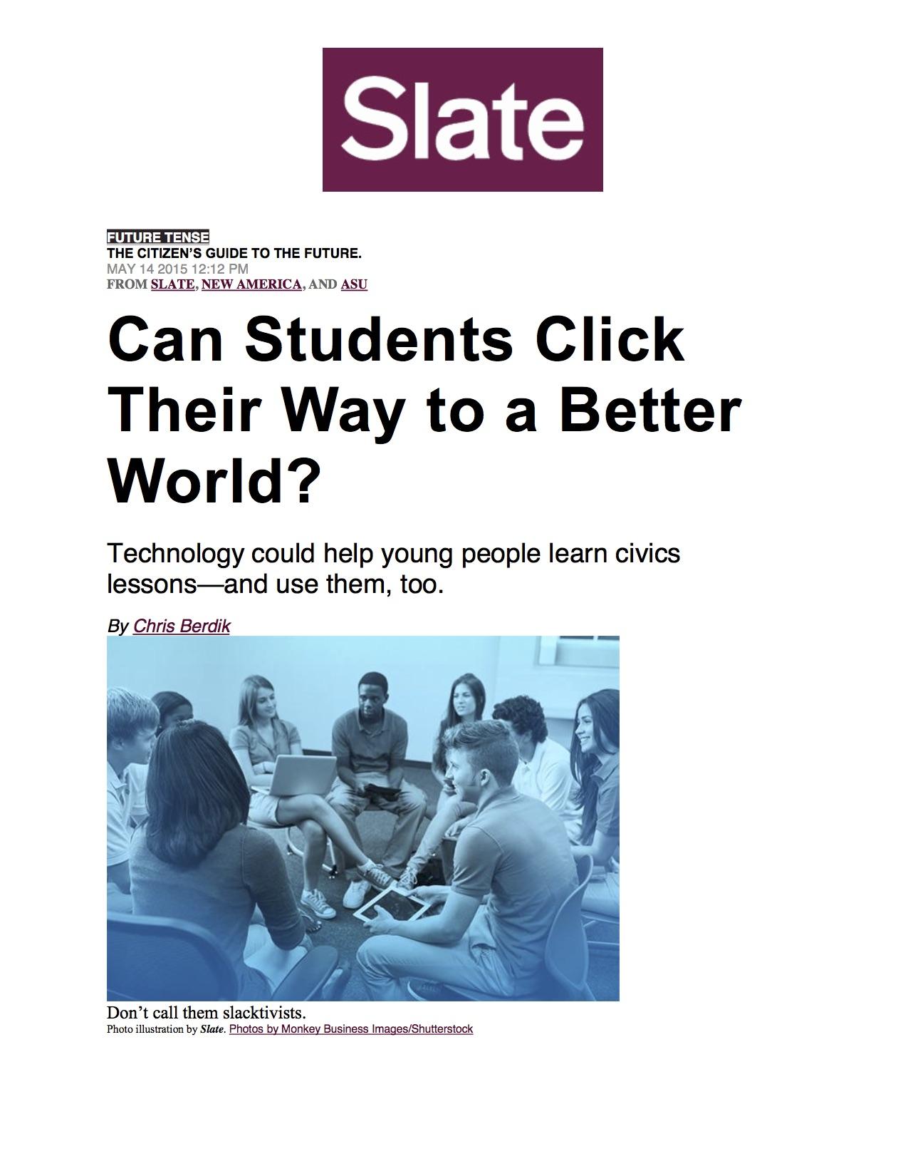 News: iCivics, Slate