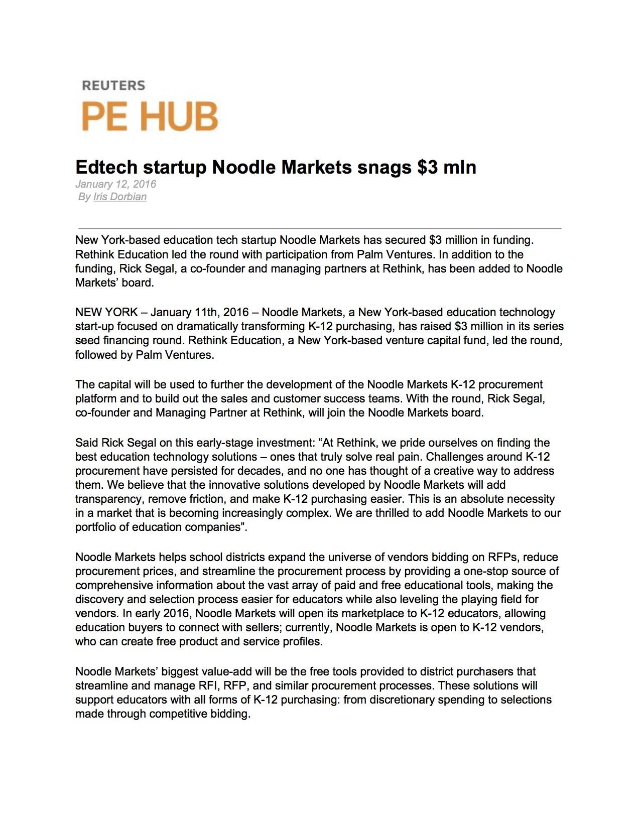 Funding: Noodle Markets, Reuters PE Hub