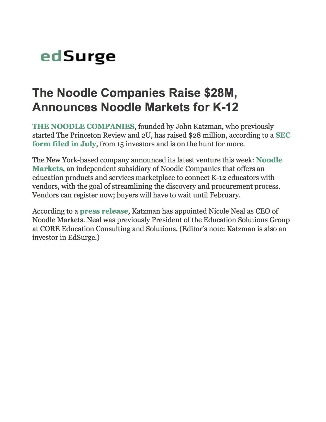 Funding: Noodle Markets, Ed Surge