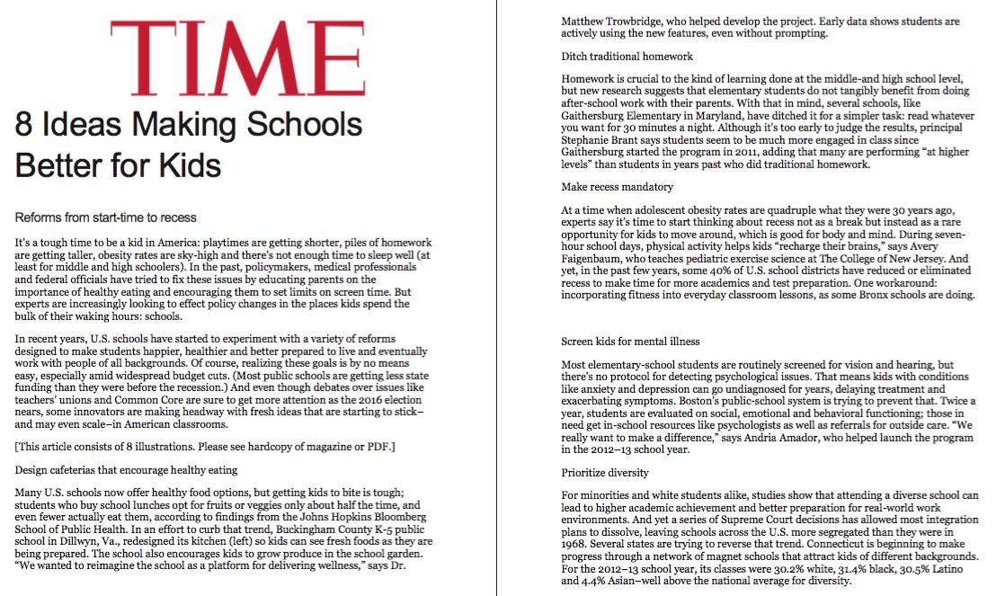 News: DKC/Knewton, Time Magazine, print edition