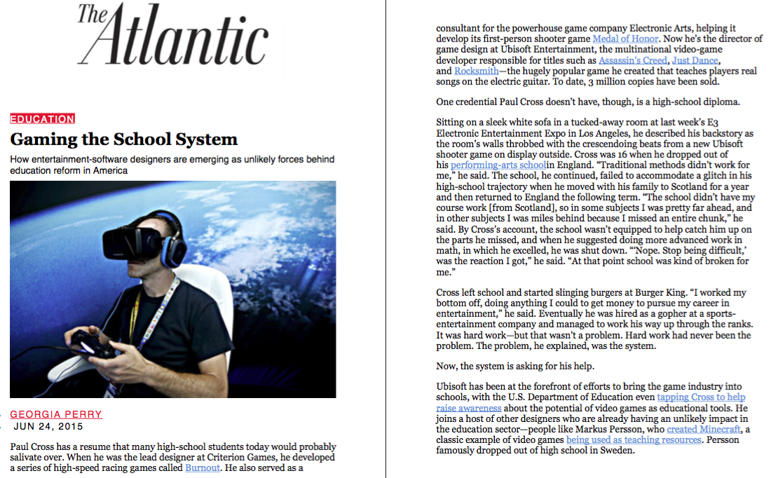 News: GlassLab, The Atlantic