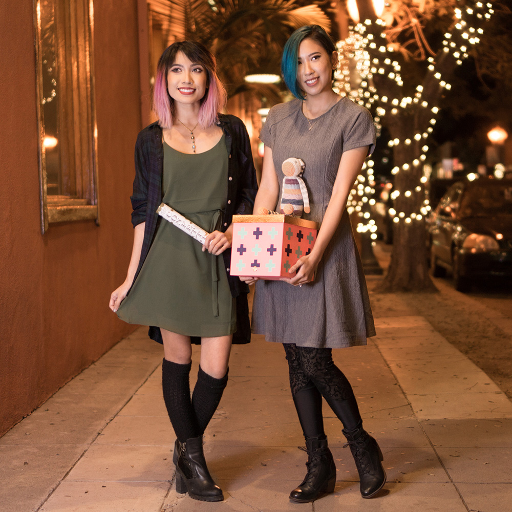 Meg:    Top:   Boyfriend Lounge Plaid Shirt    Dress:   Field of Flowers Dress     Mel:   Dress:   Textured Fit and Flare Dress