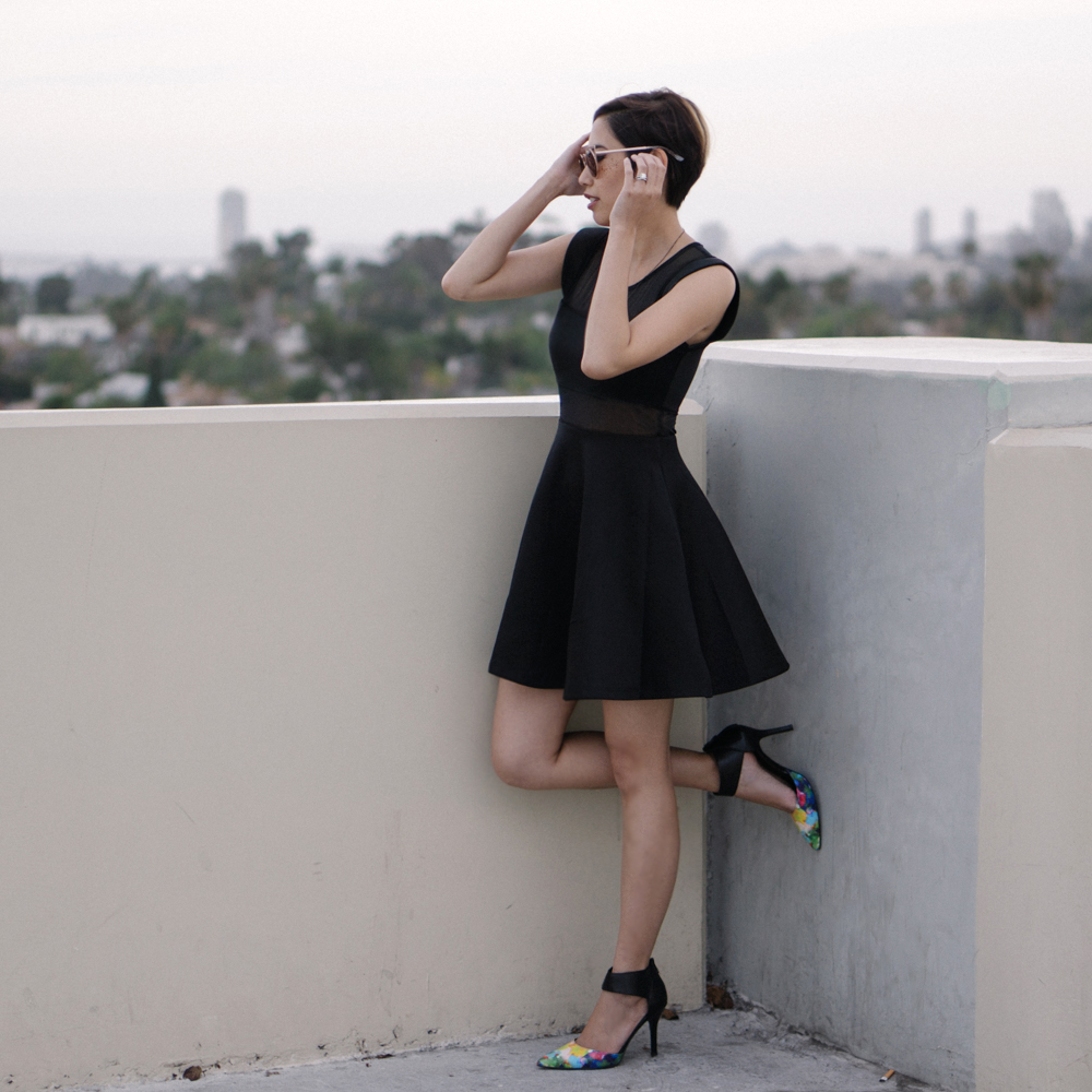 Sunglasses: SunglassSpot  Necklace:  Ardent Reverie   Dress:  Tobi   Shoes:  Nine West