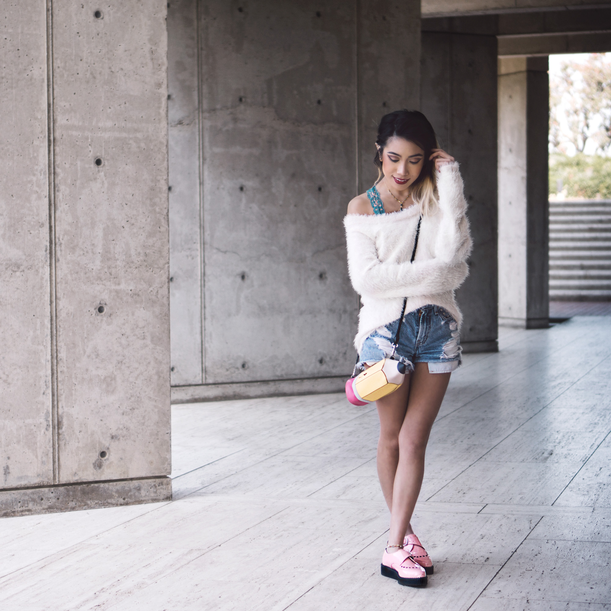 Top:  Out on the Town Sweater   Bag:  Valfre No. 2 Pencil Purse   Shoes: T.U.K. Footwear