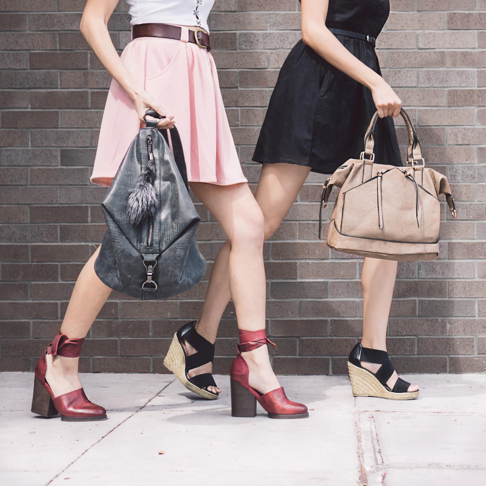 Bag (left) :  Cassi Draped Backpack Black    Bag (right) :  Hayley Satchel Taupe