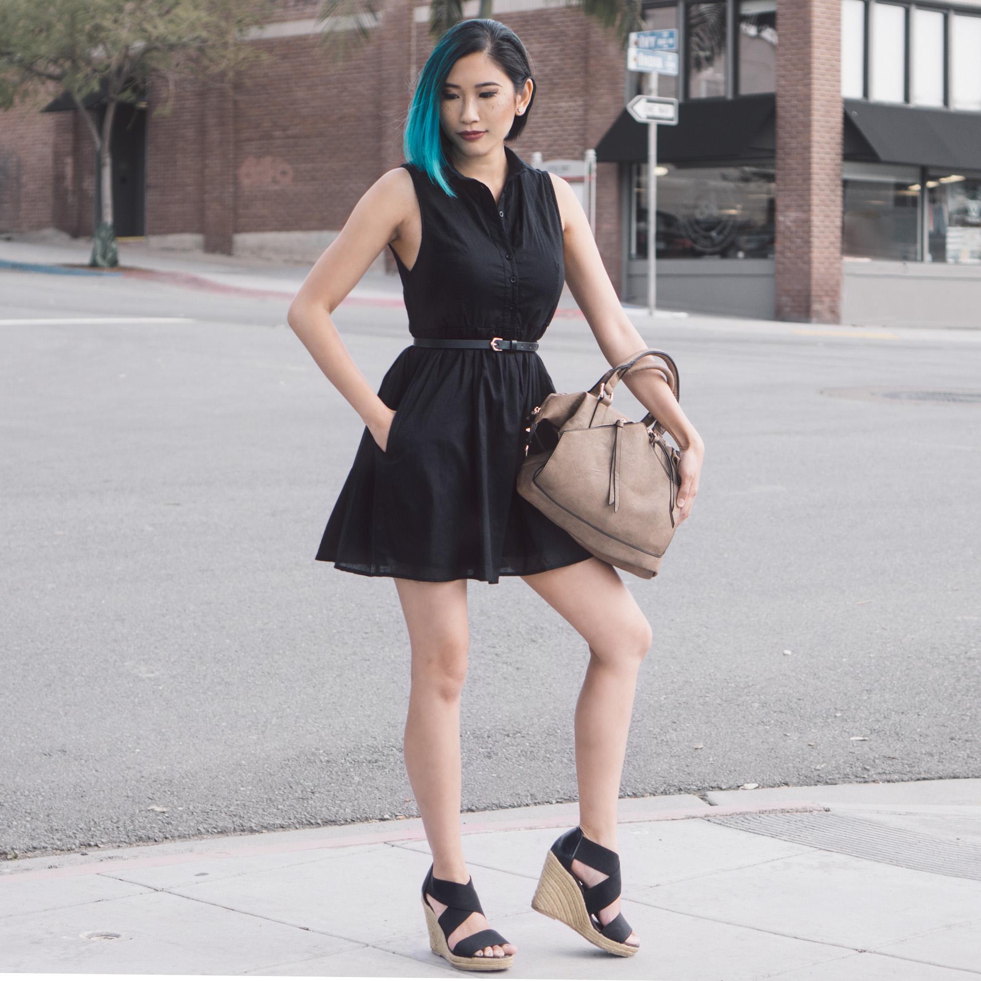 Dress :  Kate Boss Flare Dress    Bag :  Hayley Satchel Taupe    Shoes :  Steven Madden