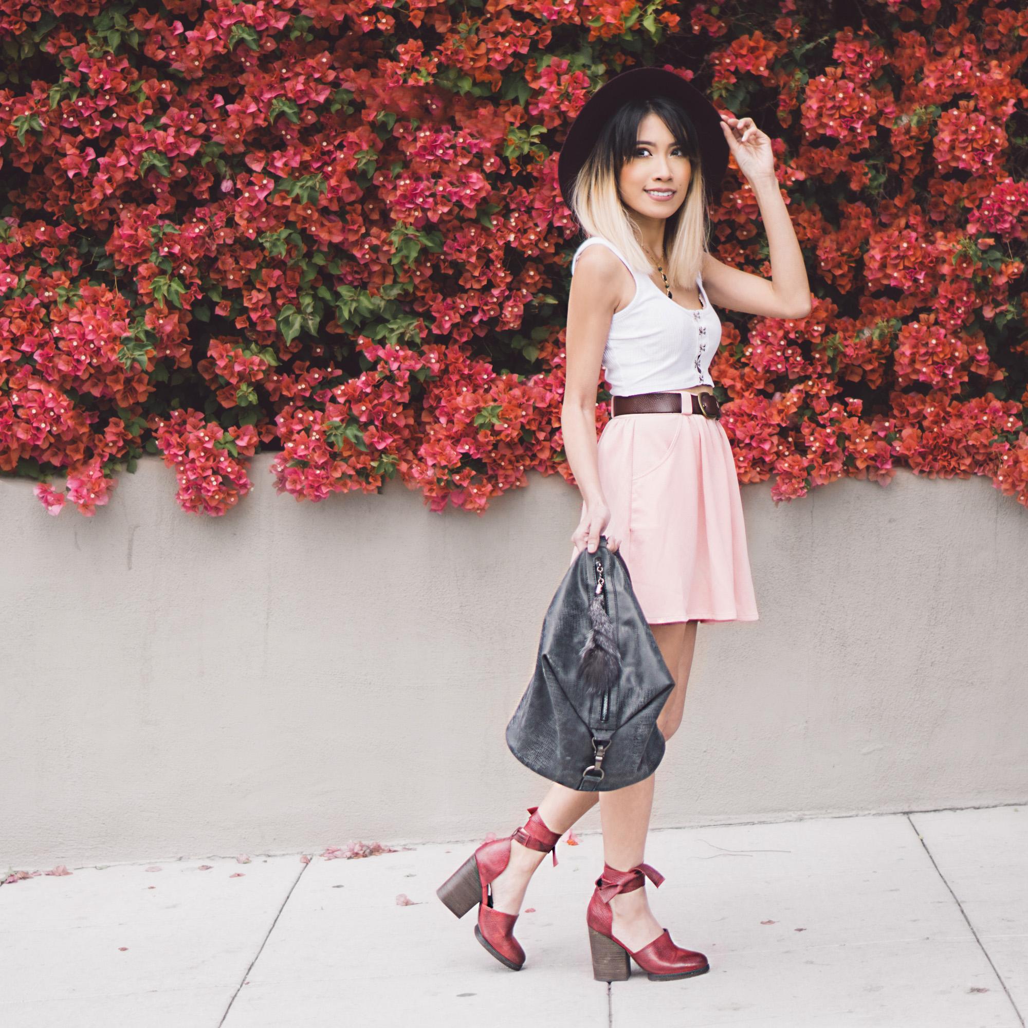 Hat :  Billabonog    Top :  Sunny Afternoon Cropped Tank Top    Skirt : (similar)  Myah Pleated Skater Skirt    Bag :  Cassi Draped Backpack Black    Shoes : (similar)  Cora Wrap Heel