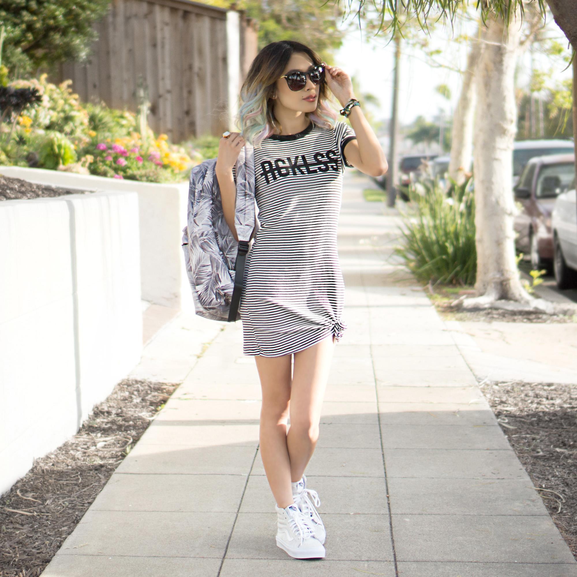 Dress :  Come Thru Dress    Shoes :  Unisex Sk8-Hi Slim Zip (Crackle Suede) Skate Shoe    Backpack :  Birksun    Sunglasses :  Fairfax