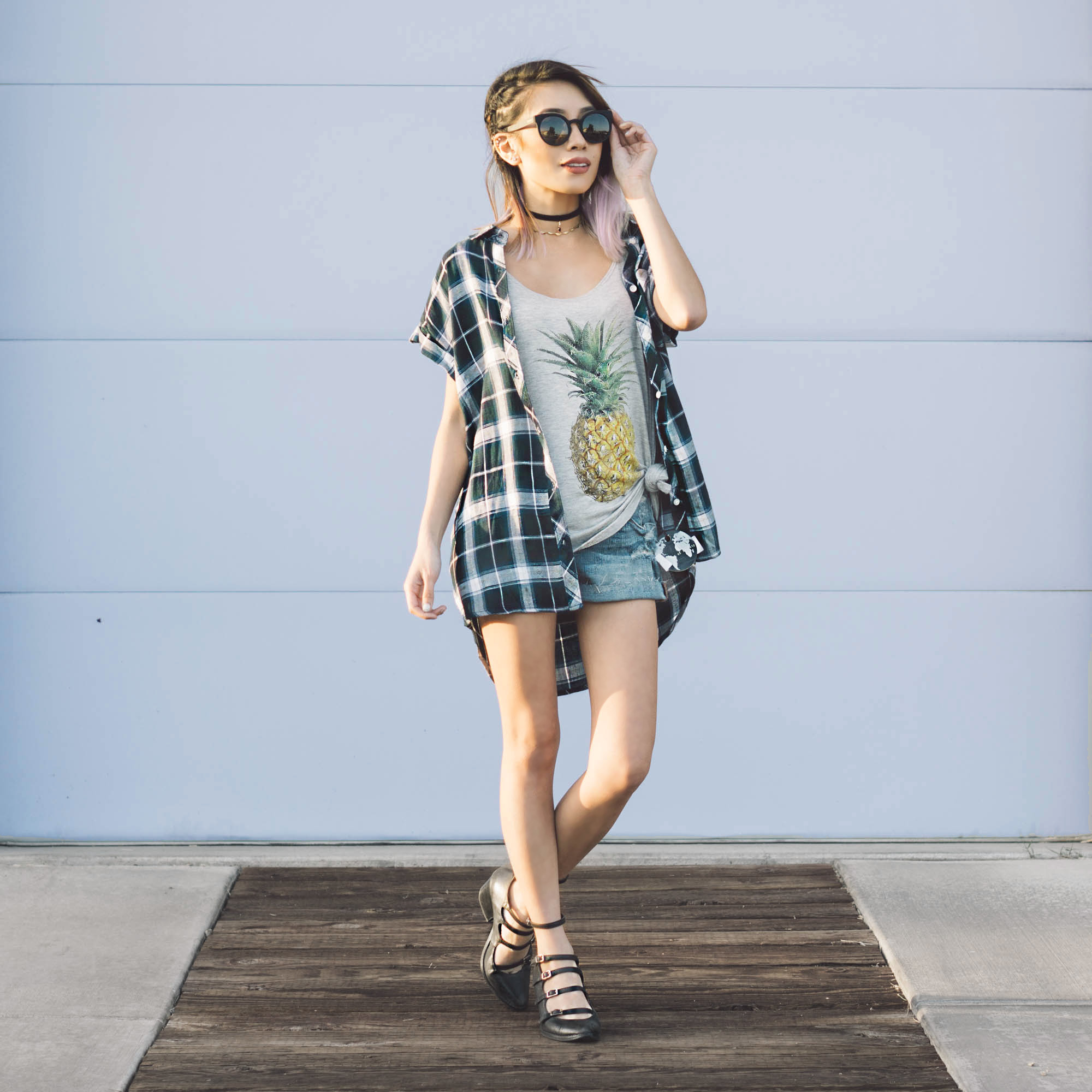 Flannel :  Jade Drop Shoulder Shirt    Top :  Pineapple Tank    Sunglasses :  Lulu Black Metal Sunglasses by Komono