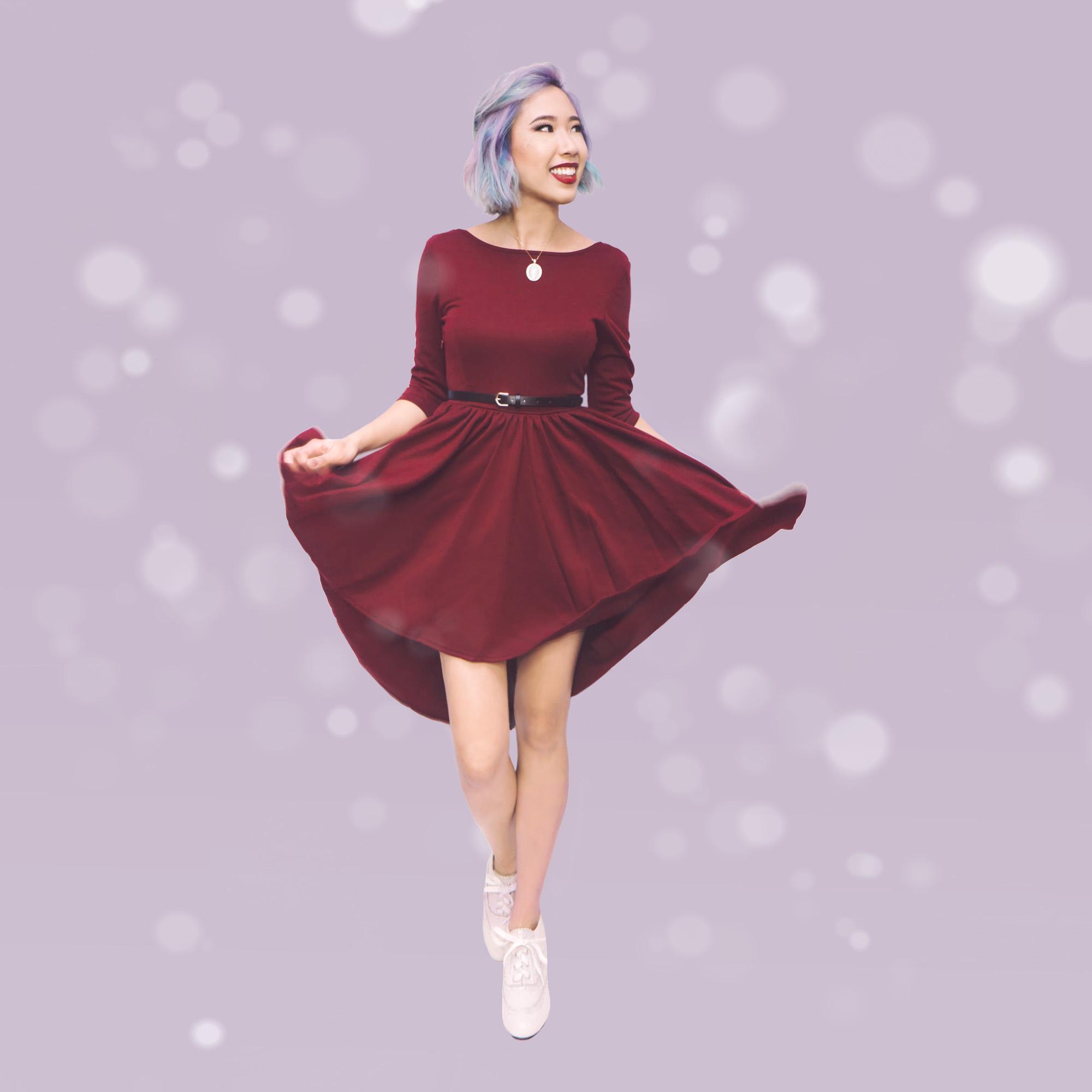 Dress :  Burgundy Backless Flare Dress