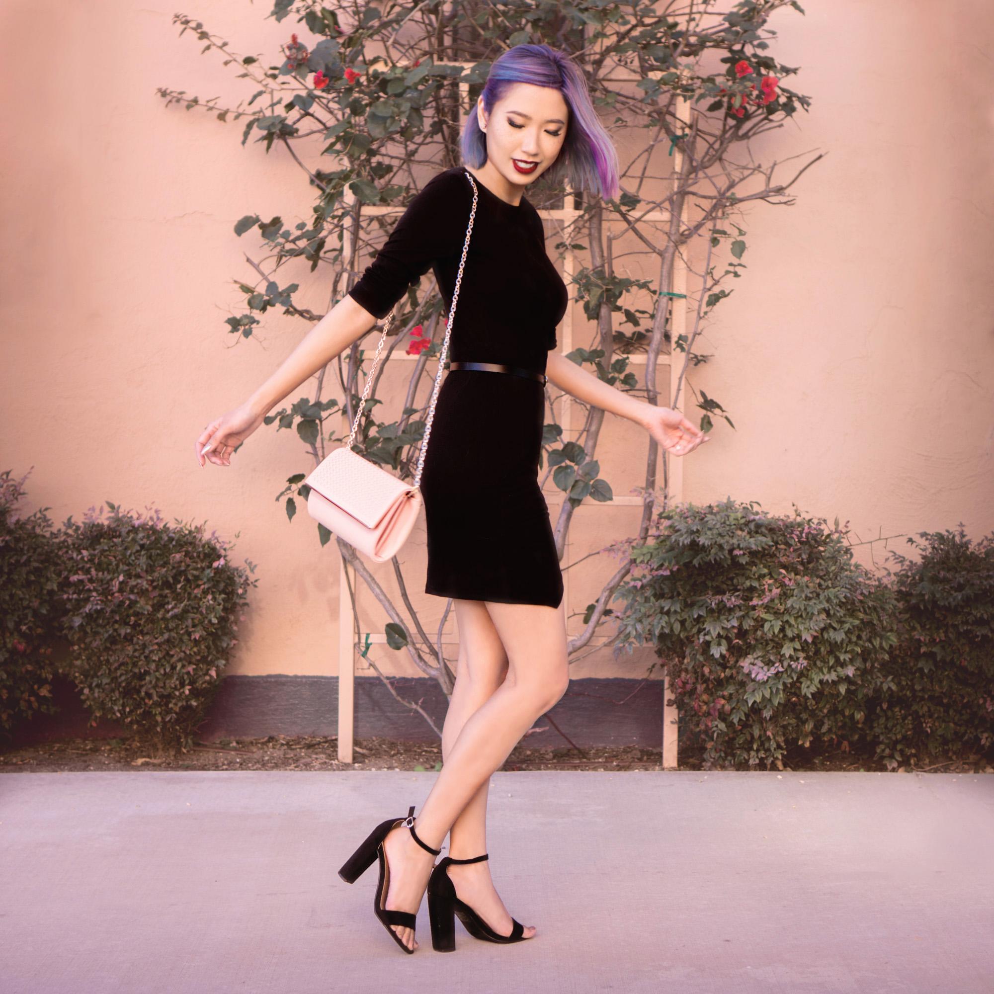 Dress : Black Asymmetric Hem Bodycon Dress    Shoes :  Open Toe Sandal