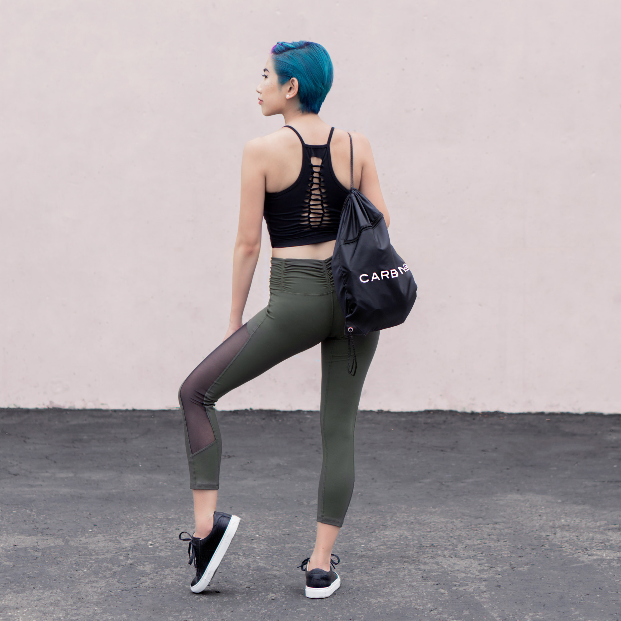 Top :  Cleo Medium Support Sport Bra    Leggings :  Raven 7/8 Length Leggings in Olive