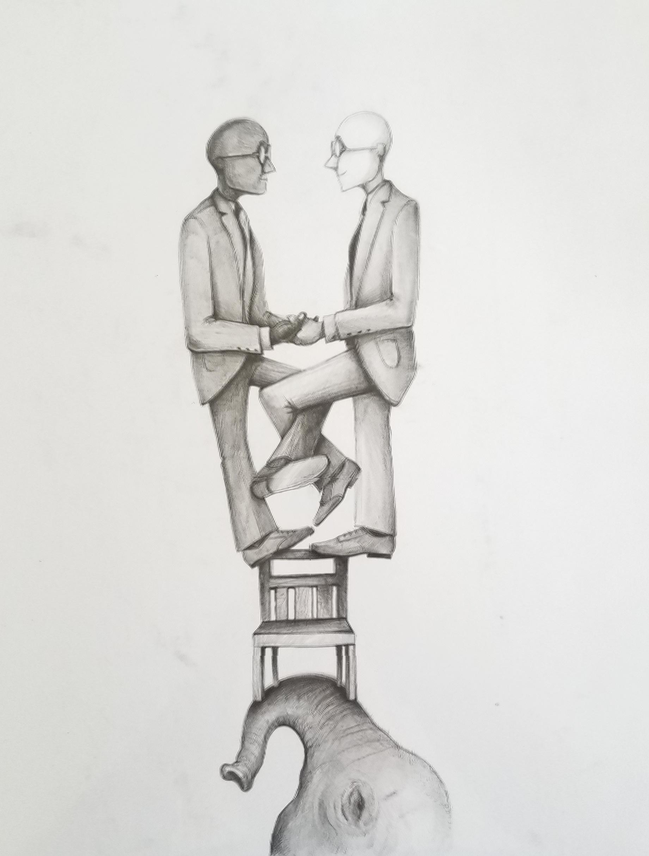 """Balance"" / Graphite pencil on paper / 11 x 14"