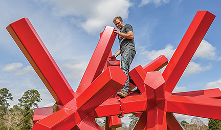 Metaphysica being installed in Oxford, Mississippi as part of the Yokna Sculpture Trail Exhibition.  (photo credit: Paul Gandy @ The Oxford Eagle)