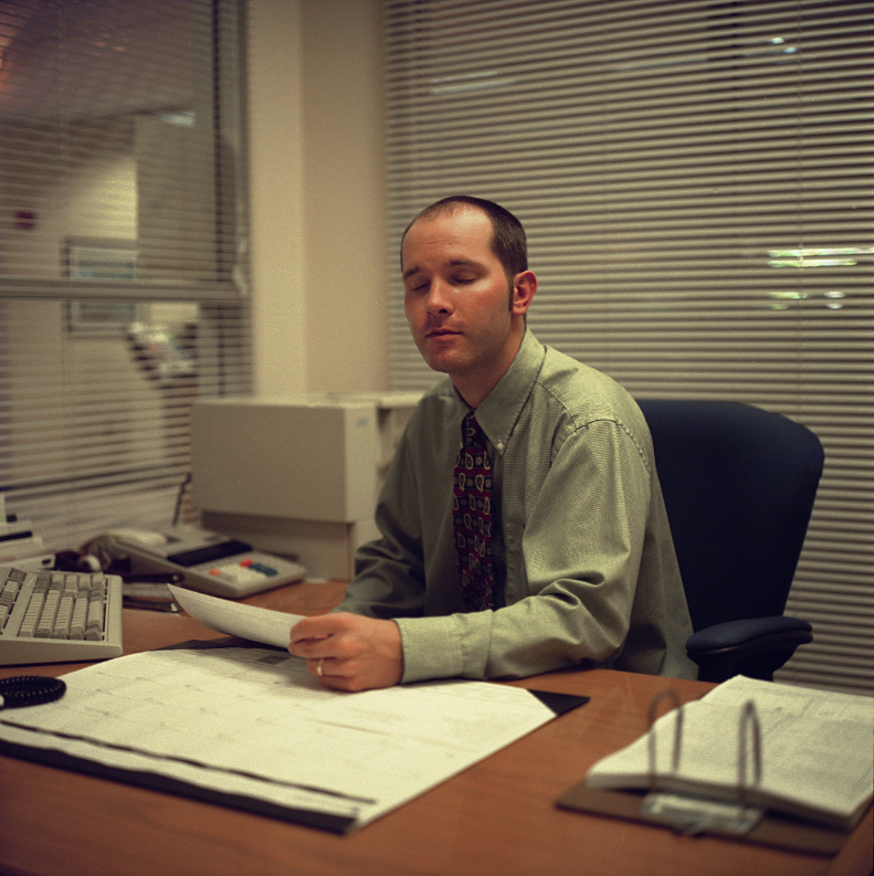 Elin O'Hara Slavick, Workers Dreaming, Trey Jervis, Bank Teller, Chapel Hill, NC, 1999