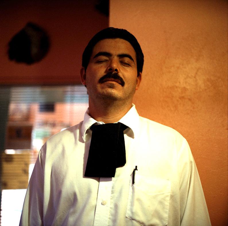 Elin O'Hara Slavick, Workers Dreaming, Salvador Sonchez, Waiter, Durham, NC, 1999