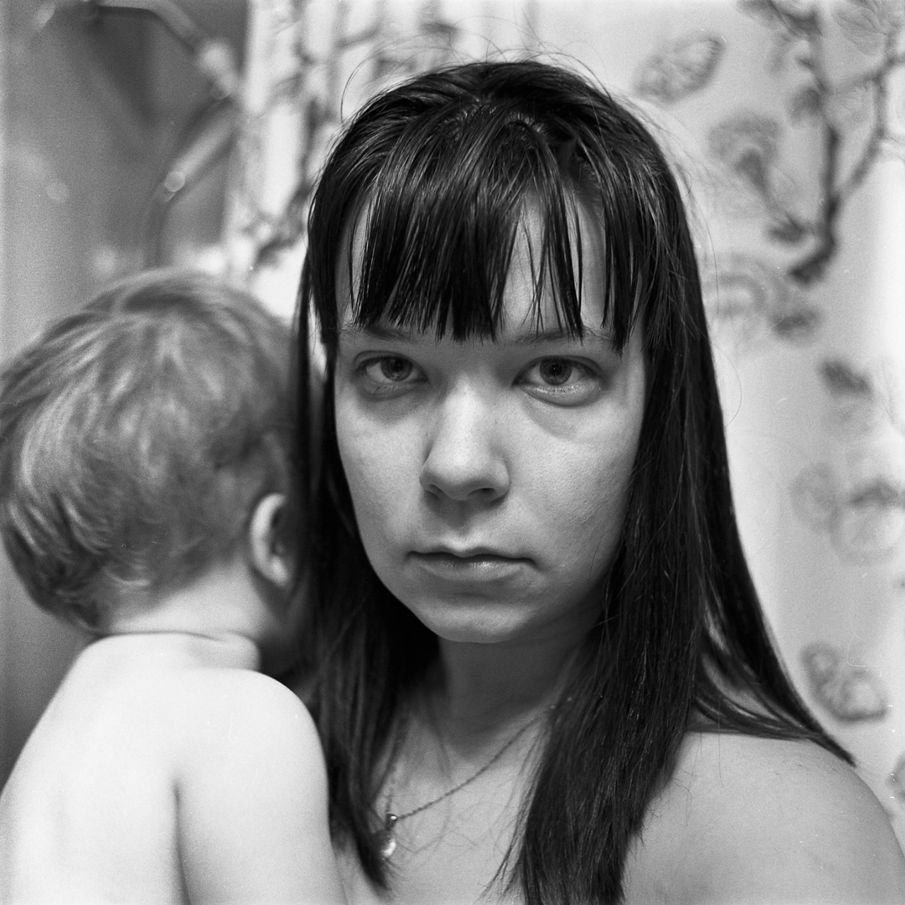 Sarah Ann Austin, Self with Child in Bathroom