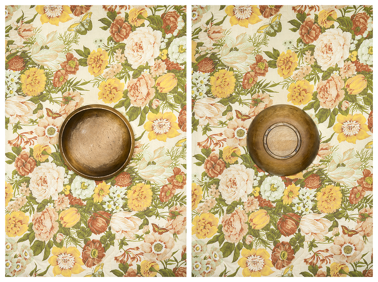 Amber Eckersley, Wooden Bowl on Floral Bedspread