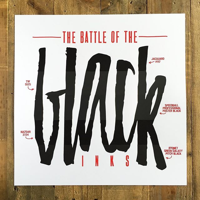 🎉 sent out a few battle of the black inks prints this morning and we still have a few left over. we ran this print as an experiment to see which inks would reign supreme for our process — it actually turned into a fun, little print and something that we're still super proud of. big shout out to @ryonet @jacquardproducts @speedball_art @nazdarinks & tw graphics for putting out great products that all performed admirably. check out the whole battle on floodpull.com!  we still have a battle of the white inks waiting to happen, is this something we should do? what white inks should we try? #floodpull #screenprinting #silkscreen