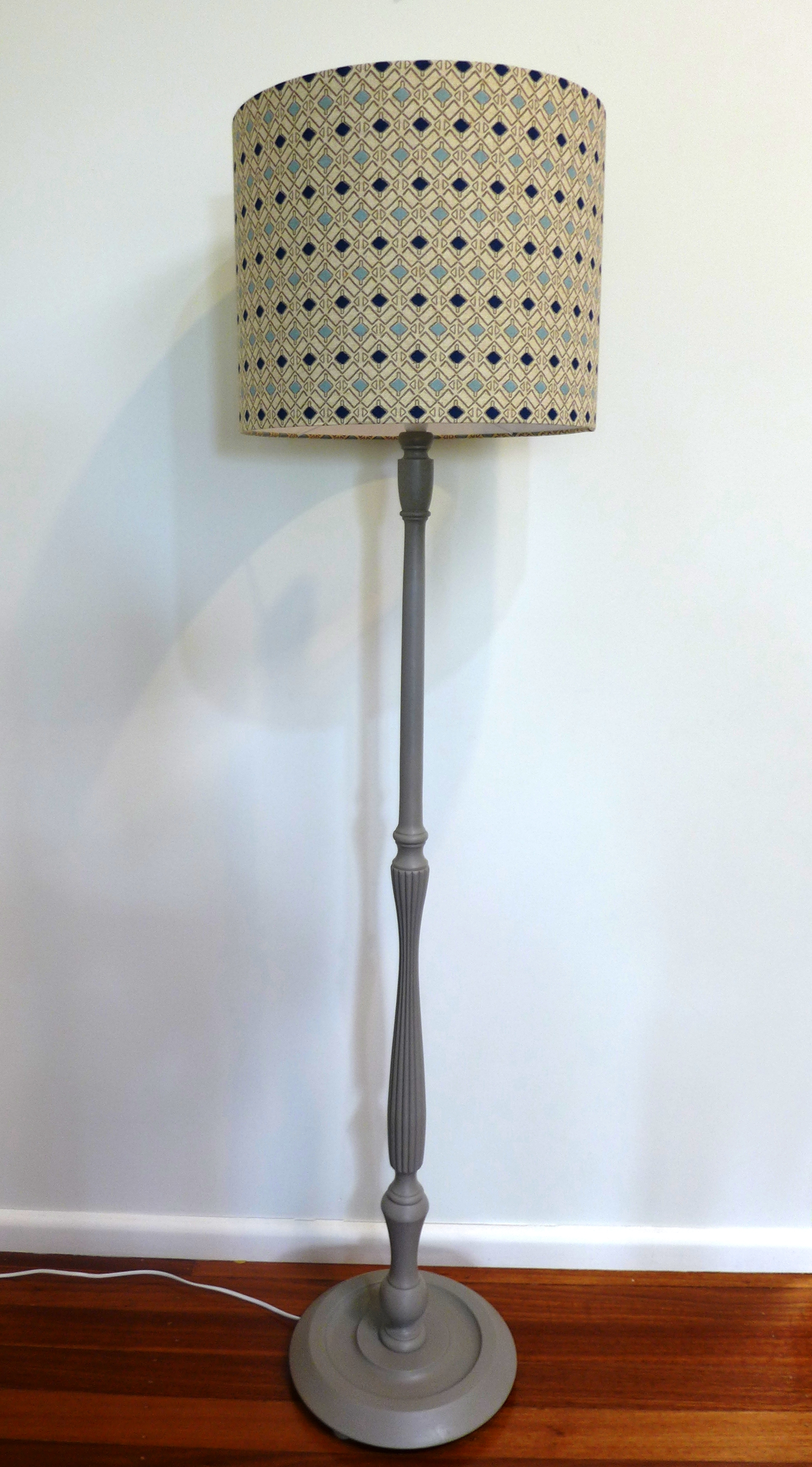 Blue geo lampshade with French linen base.JPG