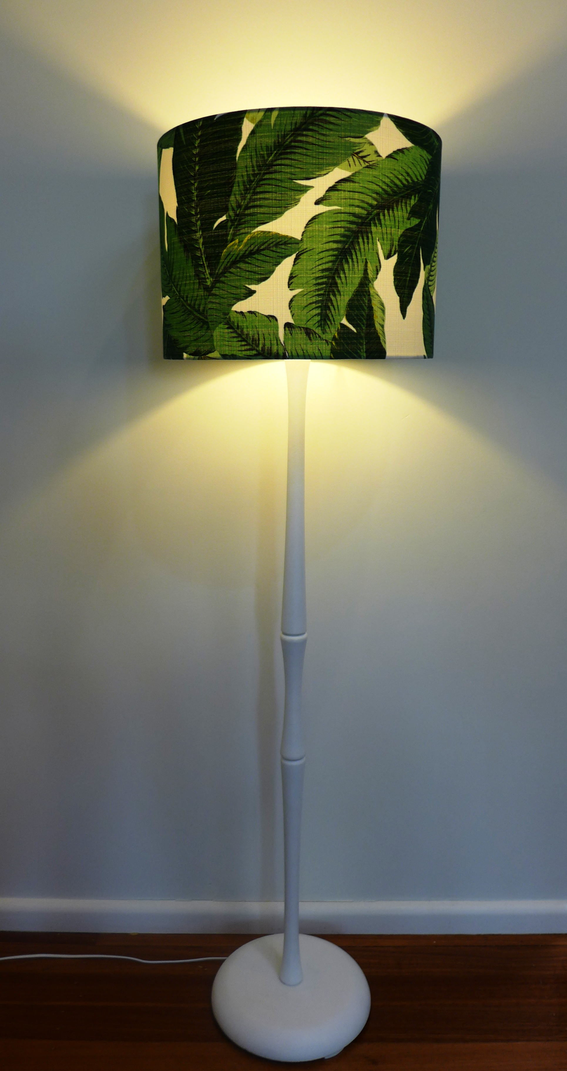 Green palm lampshade with white base.JPG