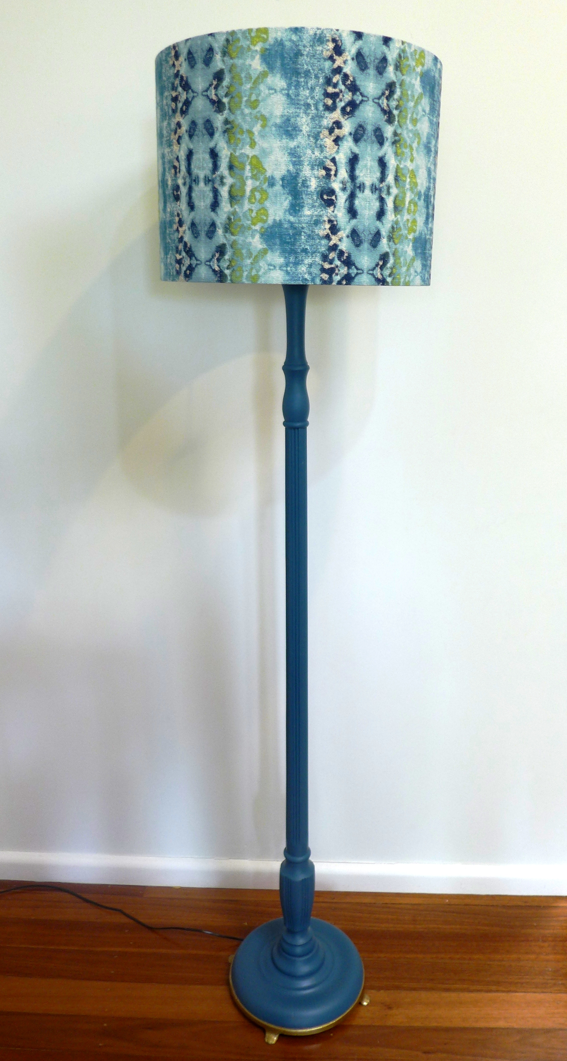 Snake lampshade with teal base.JPG