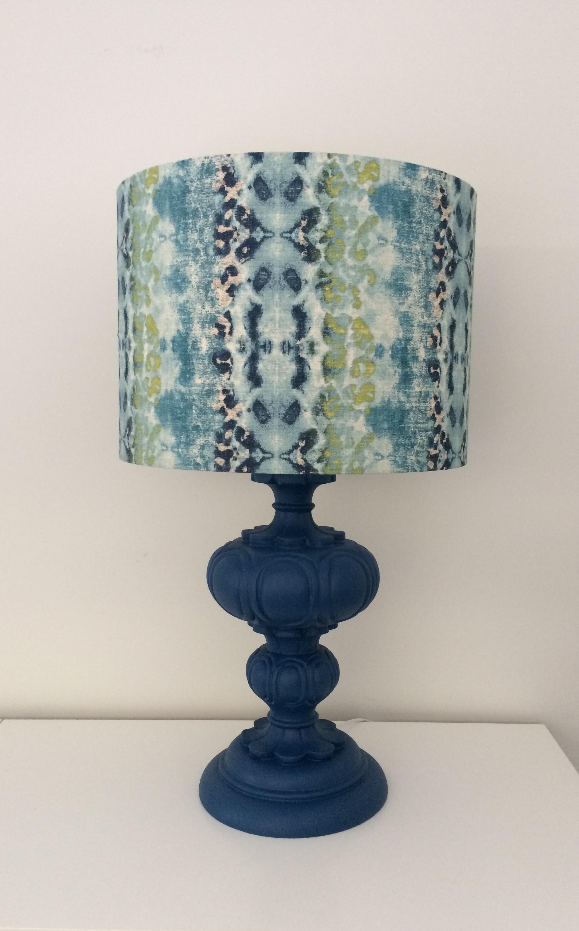 Blue decorative lamp with snake shade.jpg