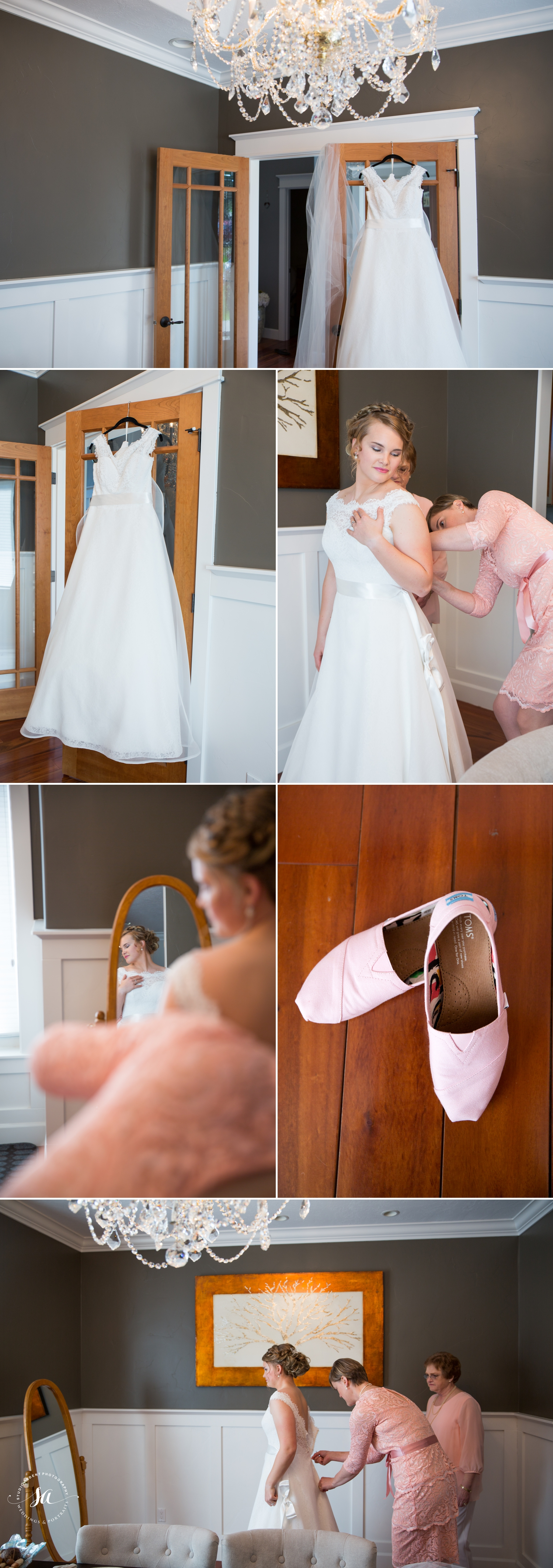 Love her pink Tom's for wedding shoes!