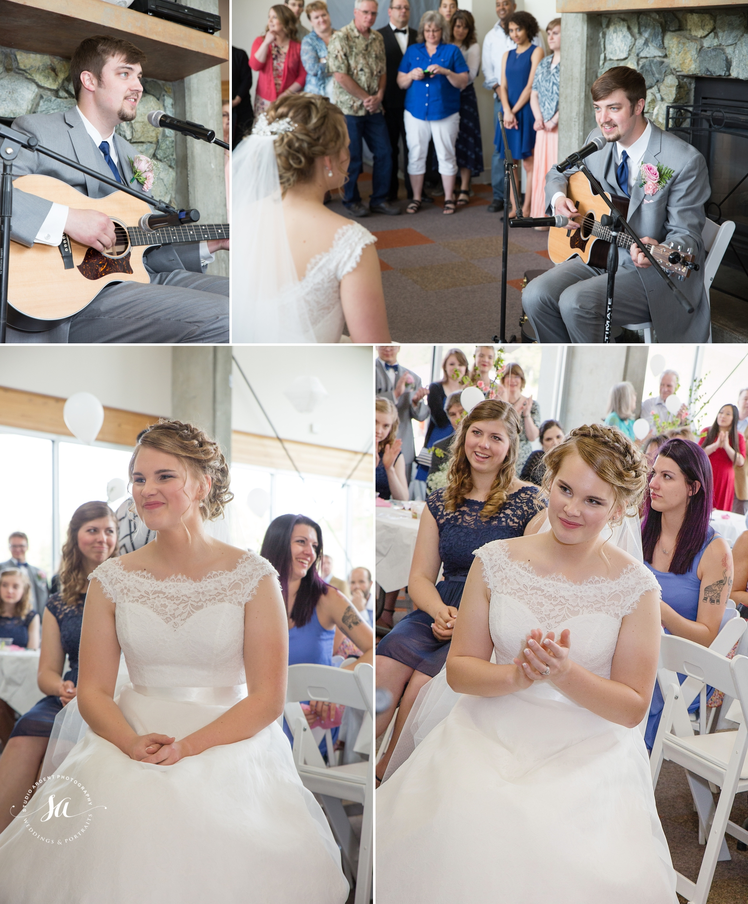 He wrote and sang a song for his bride! Pretty stinkin sweet!