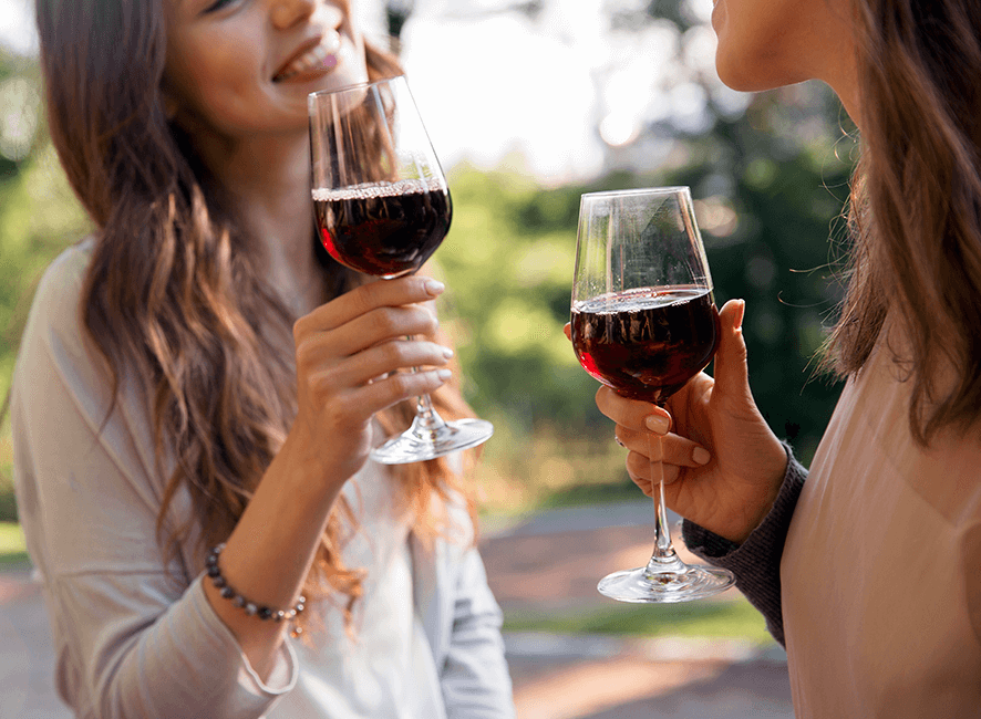 Hens Parties - Hens wine tour red wine and smiles.png