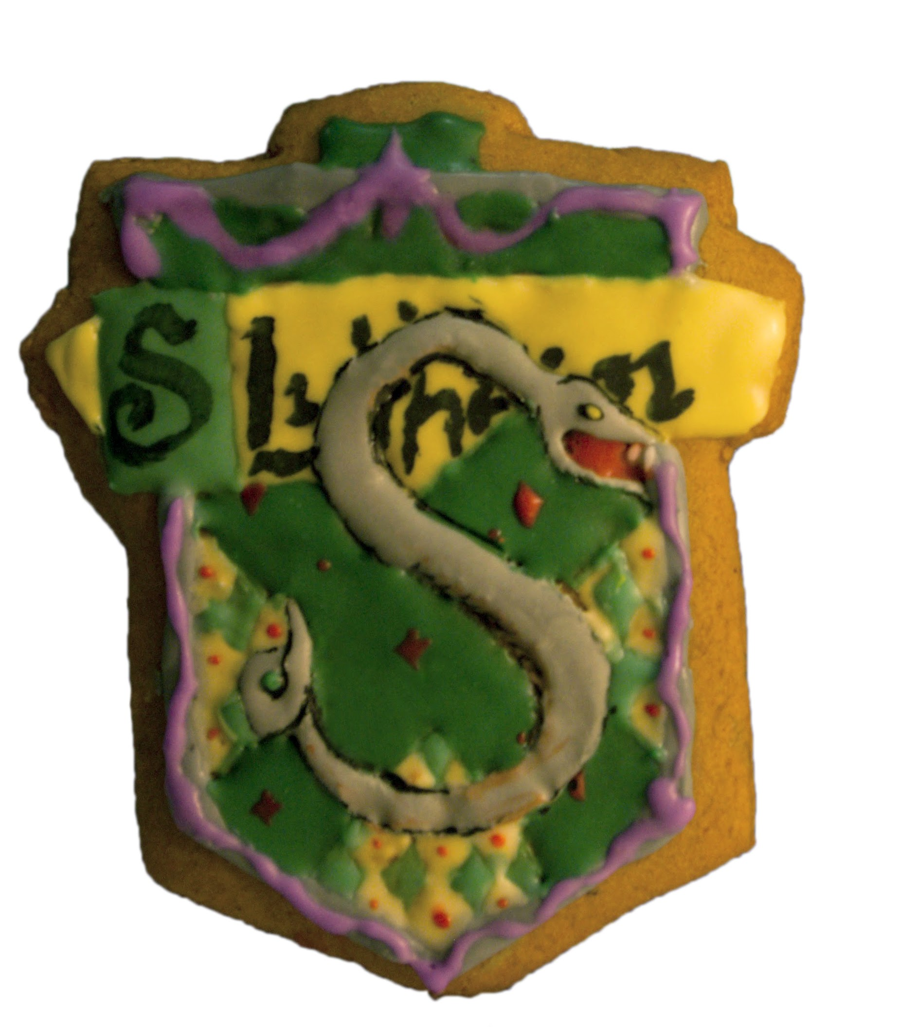 Slytherin house gingerbread cookie with hand-painted royal icing