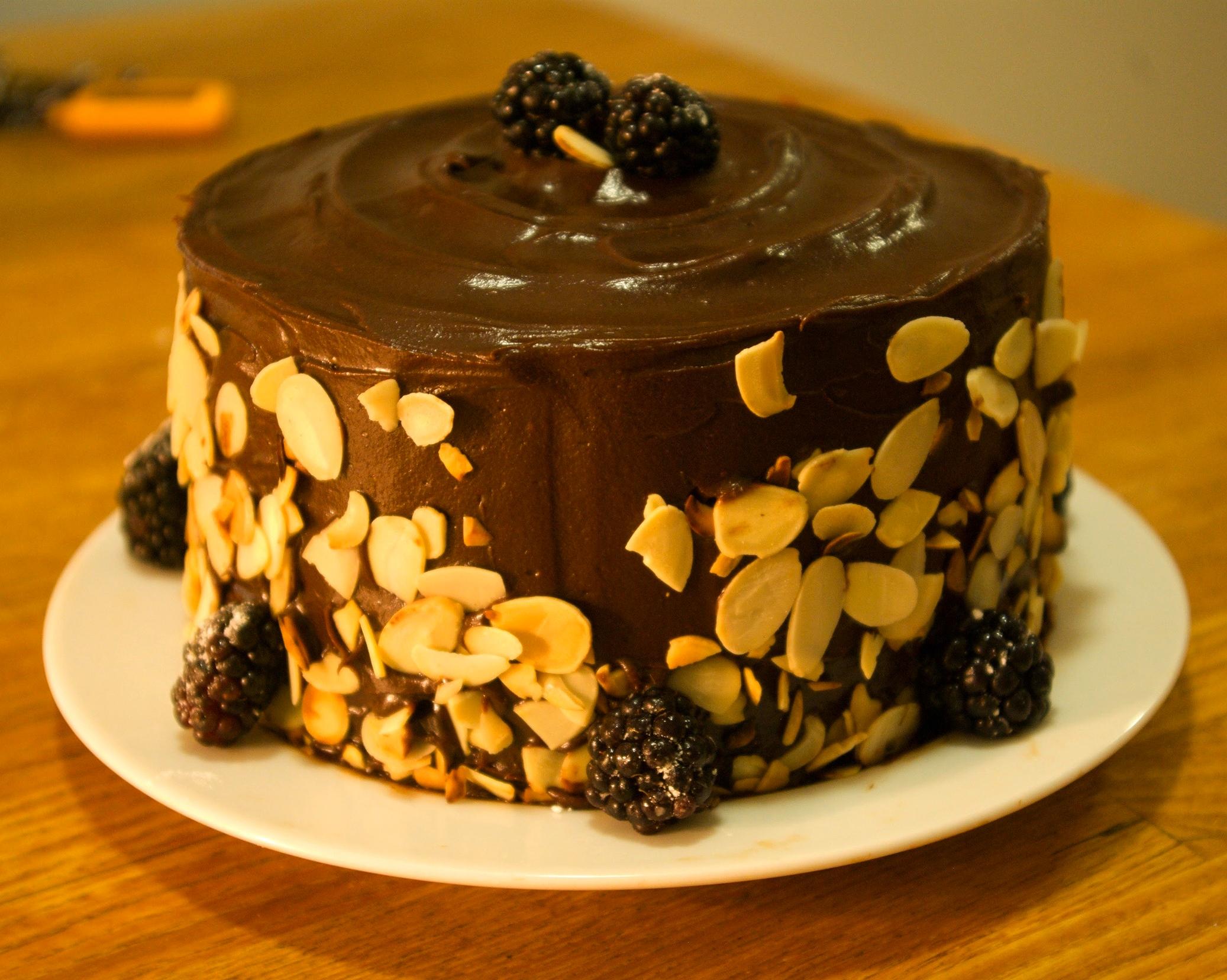 Blackberry buttermilk spice cake with bittersweet chocolate ganache