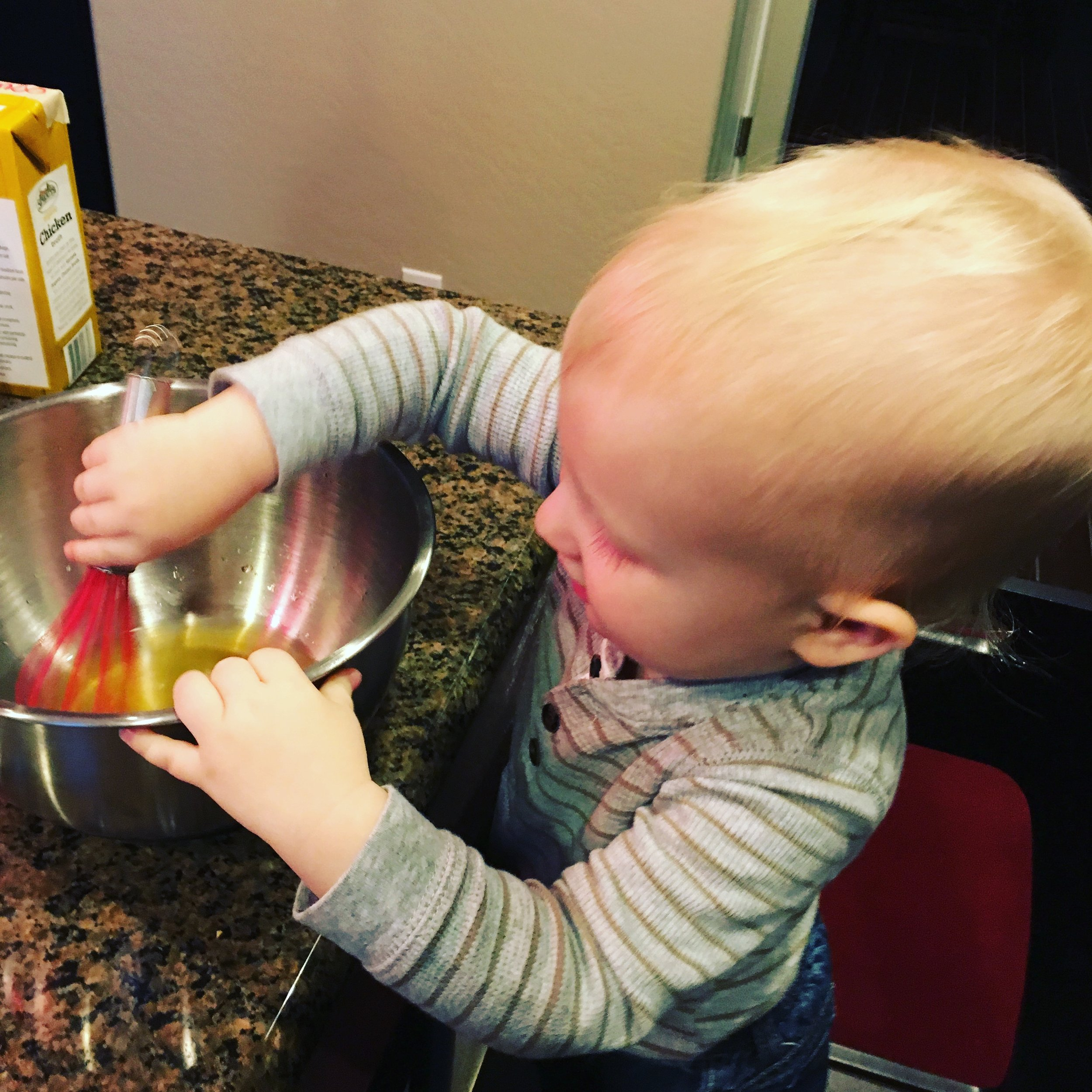 """My boy loves mixing our salad dressings and marinades. """"I cook! I cook!"""" he says."""