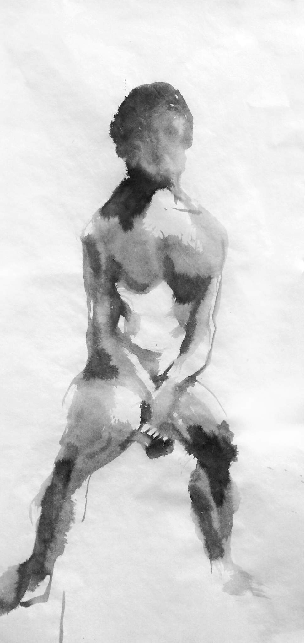 """FIGURE 2015 SUMI INK ON RICE PAPER 13""""X26"""""""