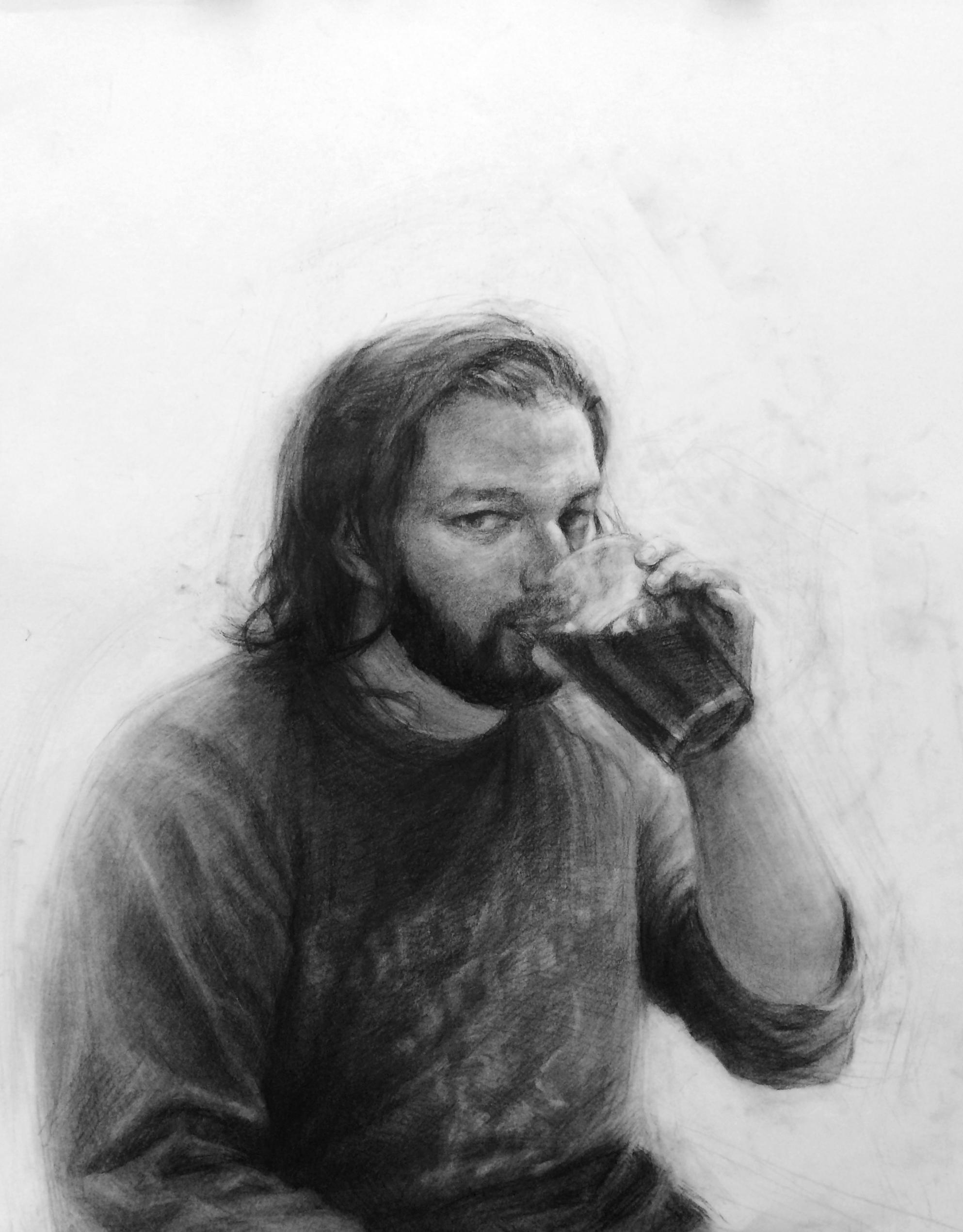 Matt Drinking Coffee / 19x24 / Charcoal / 2015