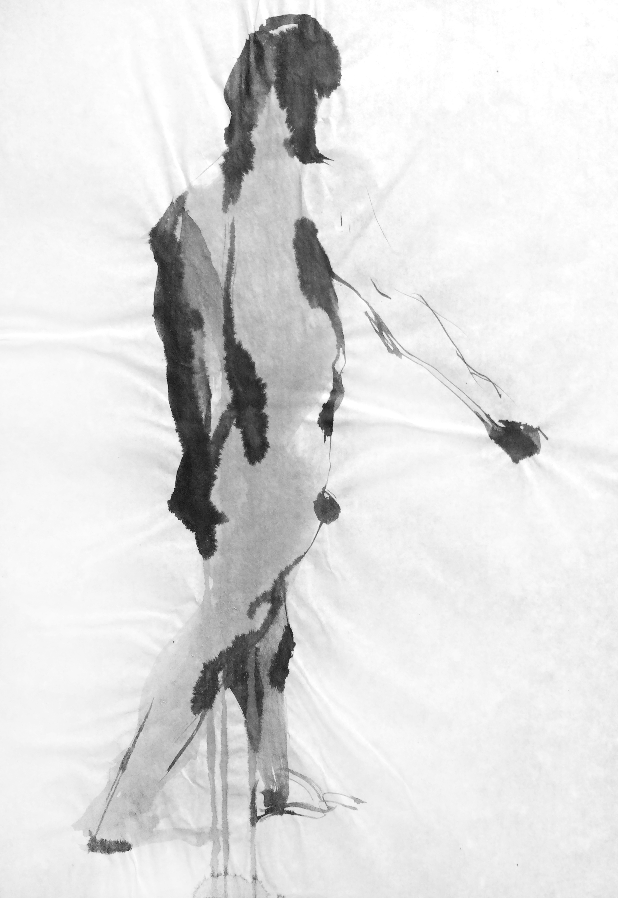 """Figure 2016 Sumi ink on rice paper 10.25""""x15"""""""