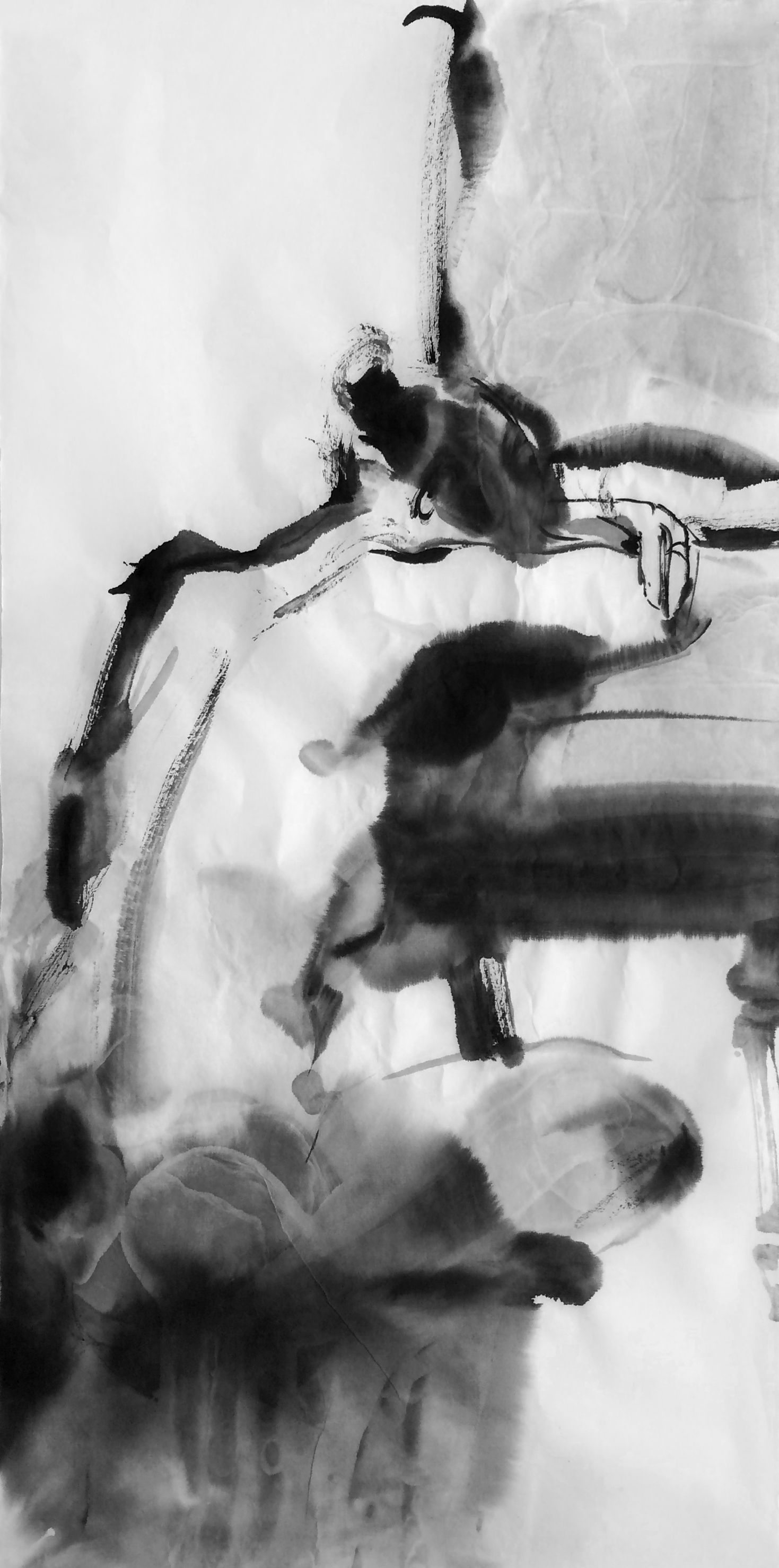 """FIGURE 2016 SUMI INK ON RICE PAPER 13.5""""X27"""""""