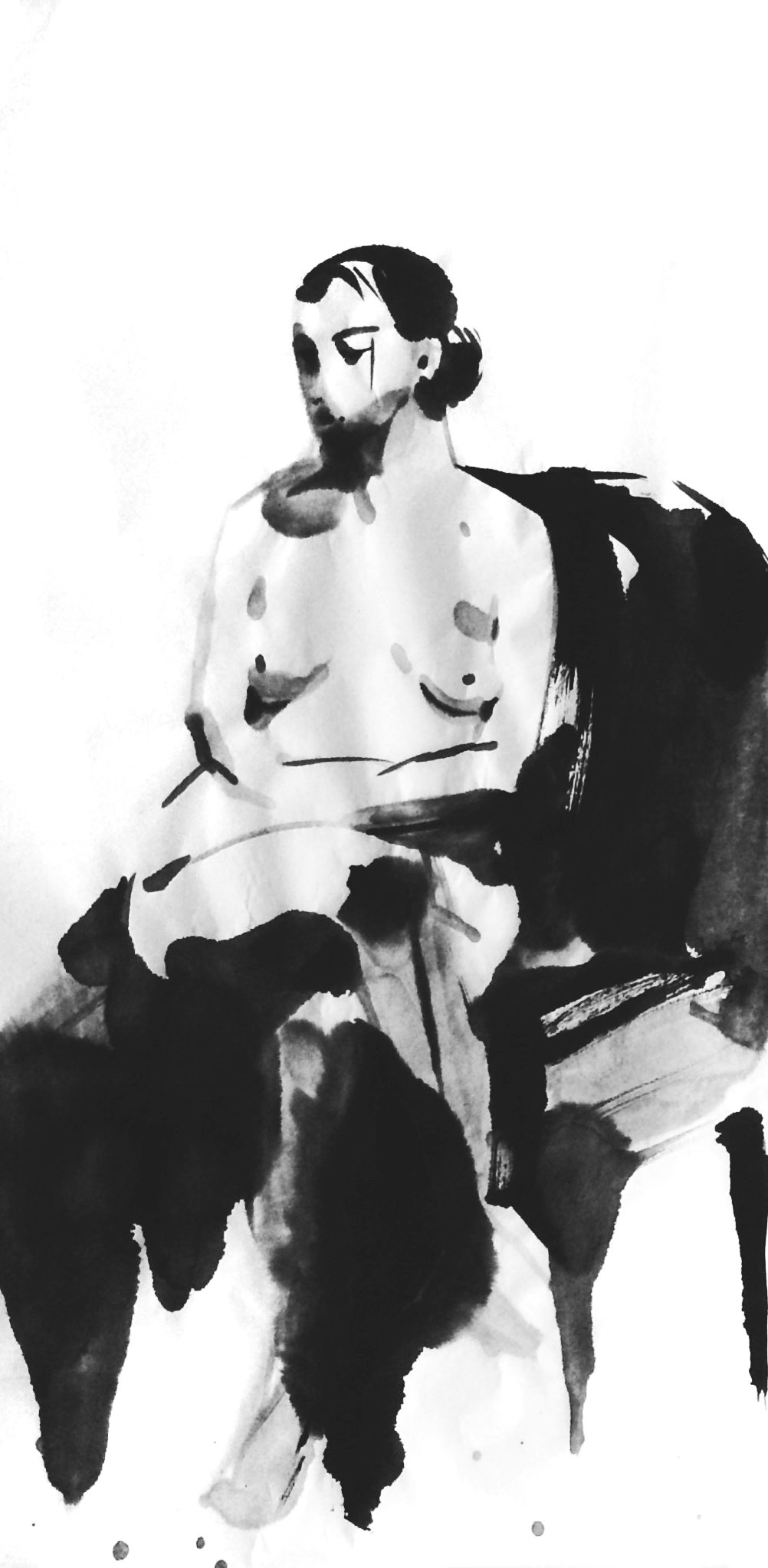 """FIGURE 2015 SUMI INK ON RICE PAPER 13""""X27"""""""