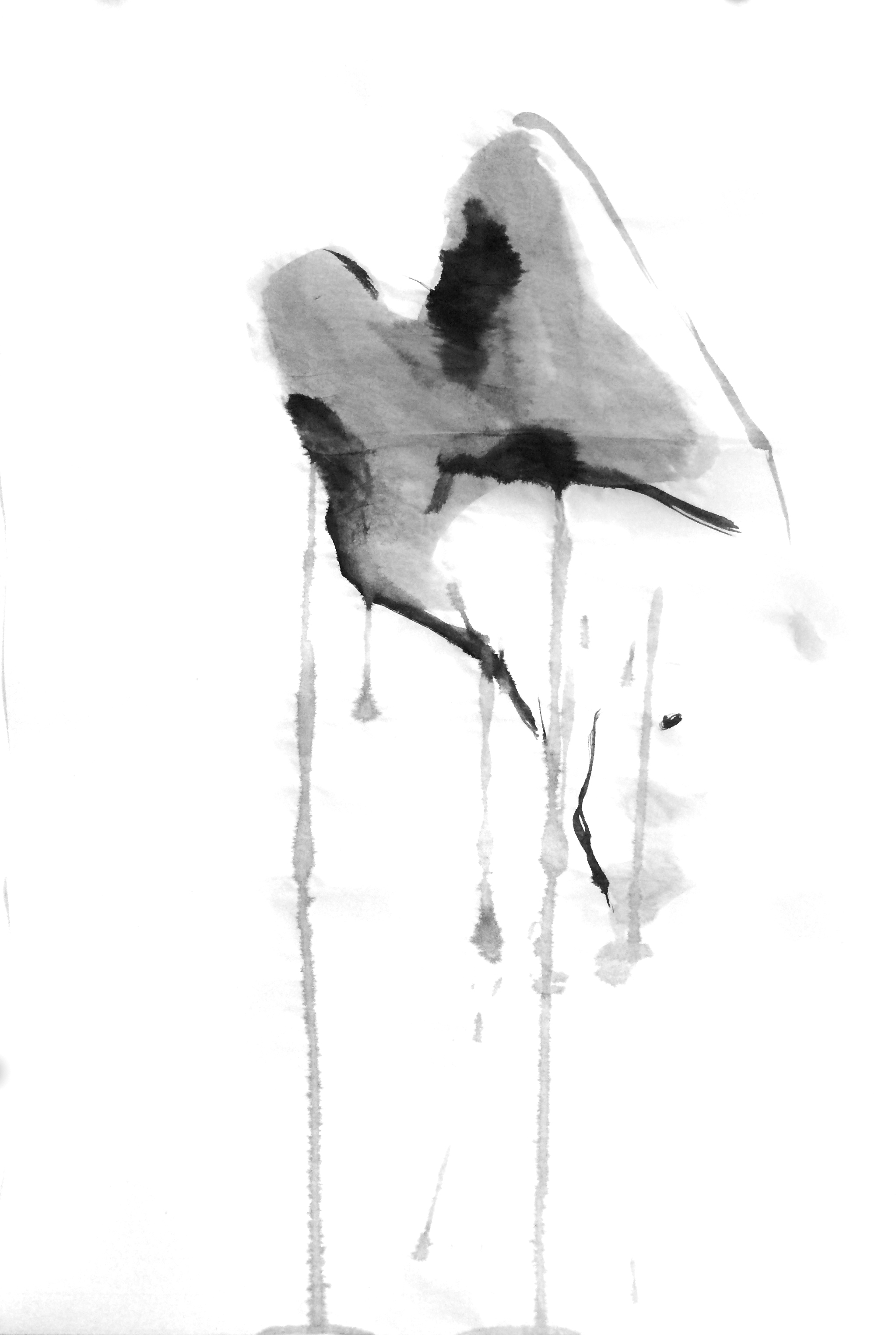 """FIGURE 2017 SUMI INK ON RICE PAPER 18""""X27"""""""