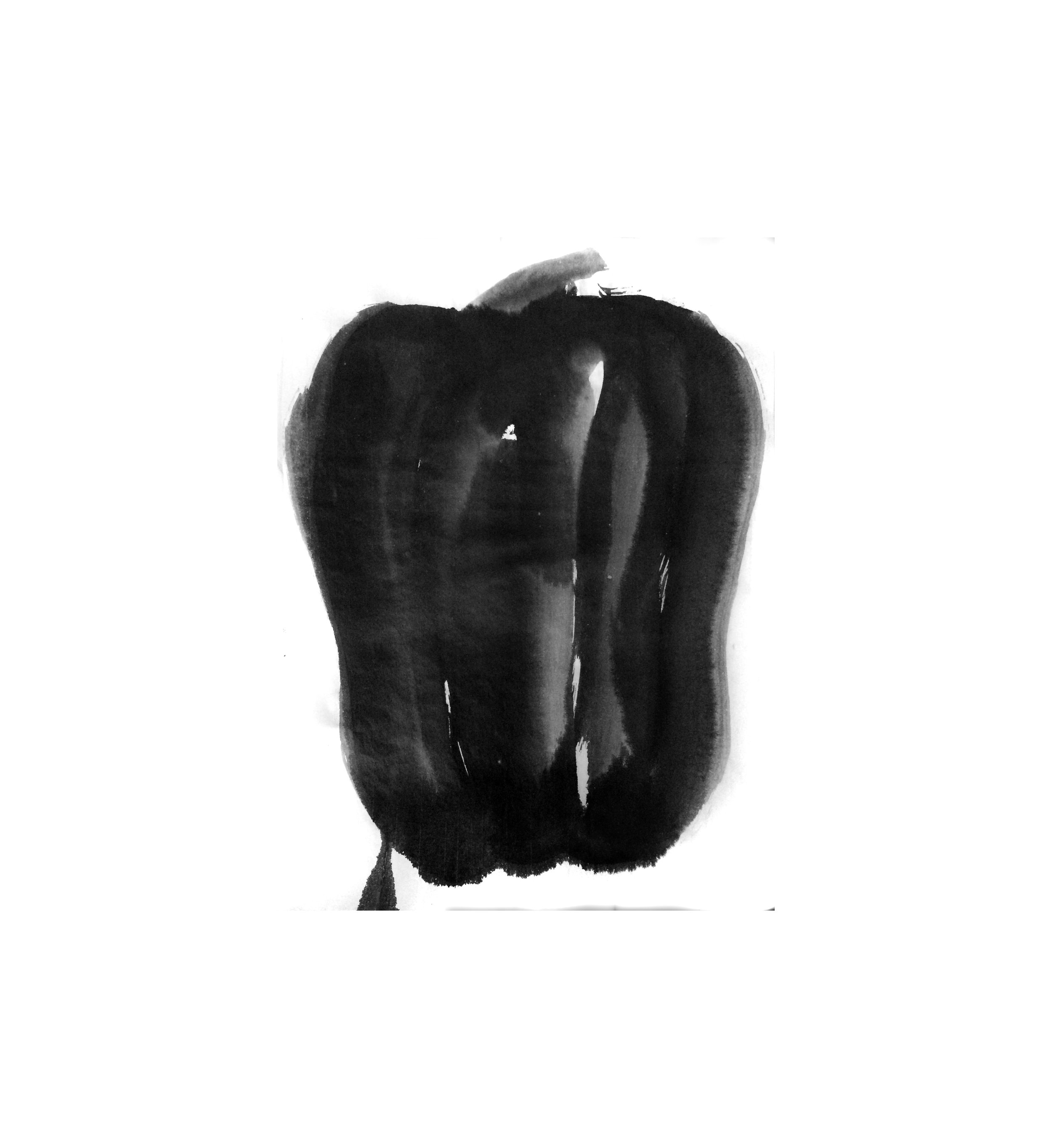 """13.5"""" x 18"""" Sumi ink on Rice paper 2017"""