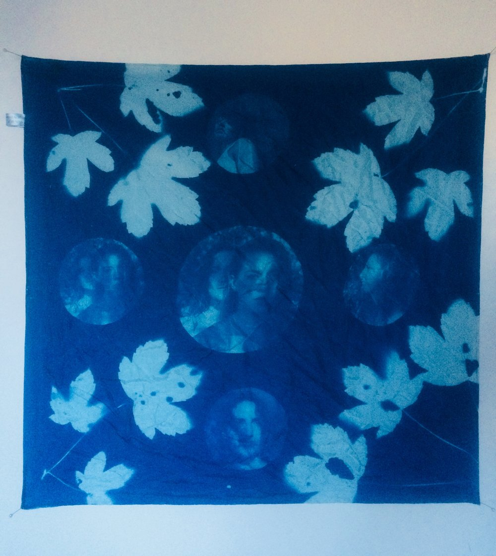 Cyanotype Scarves Wallhangings