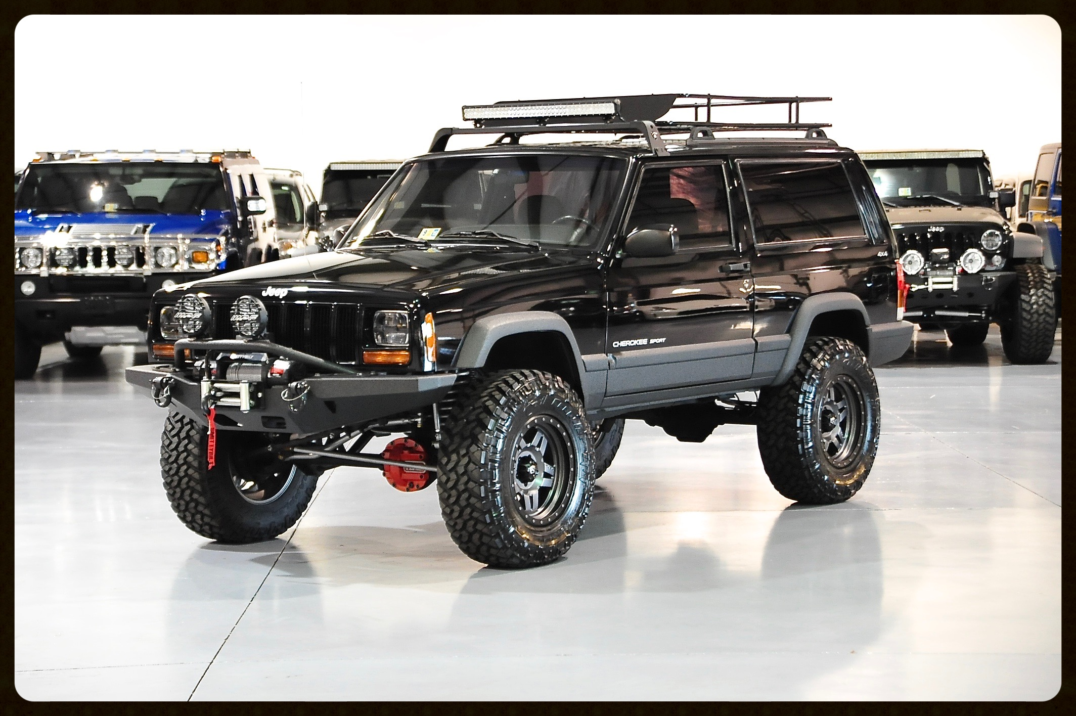 Another Great 2 Door XJ Build...Very Aggressive Black Paint with Black Kevlar finish. Click here for Photos and Video