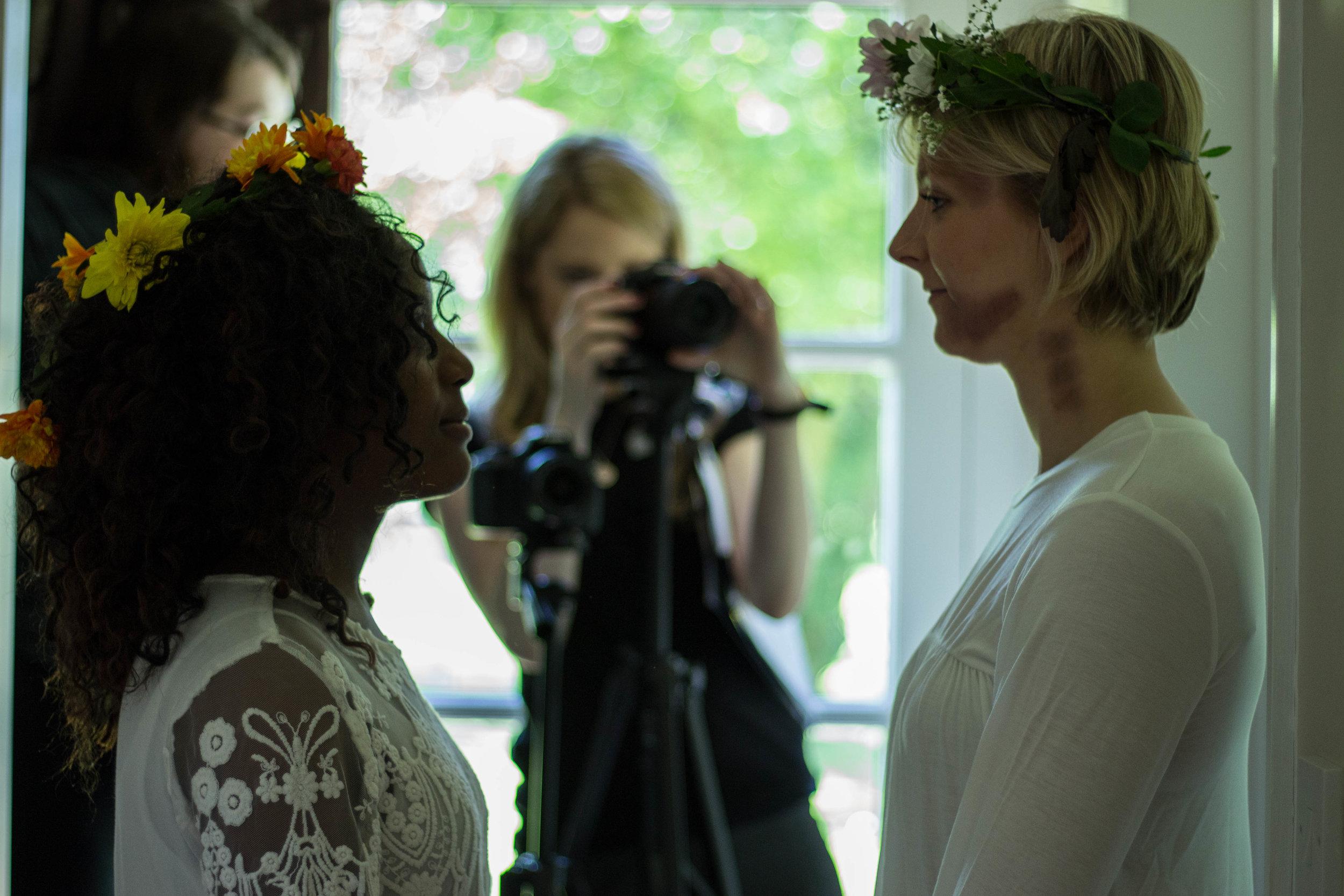 Eleanor on set with Mumbi Ramoni and director Caris Rianne