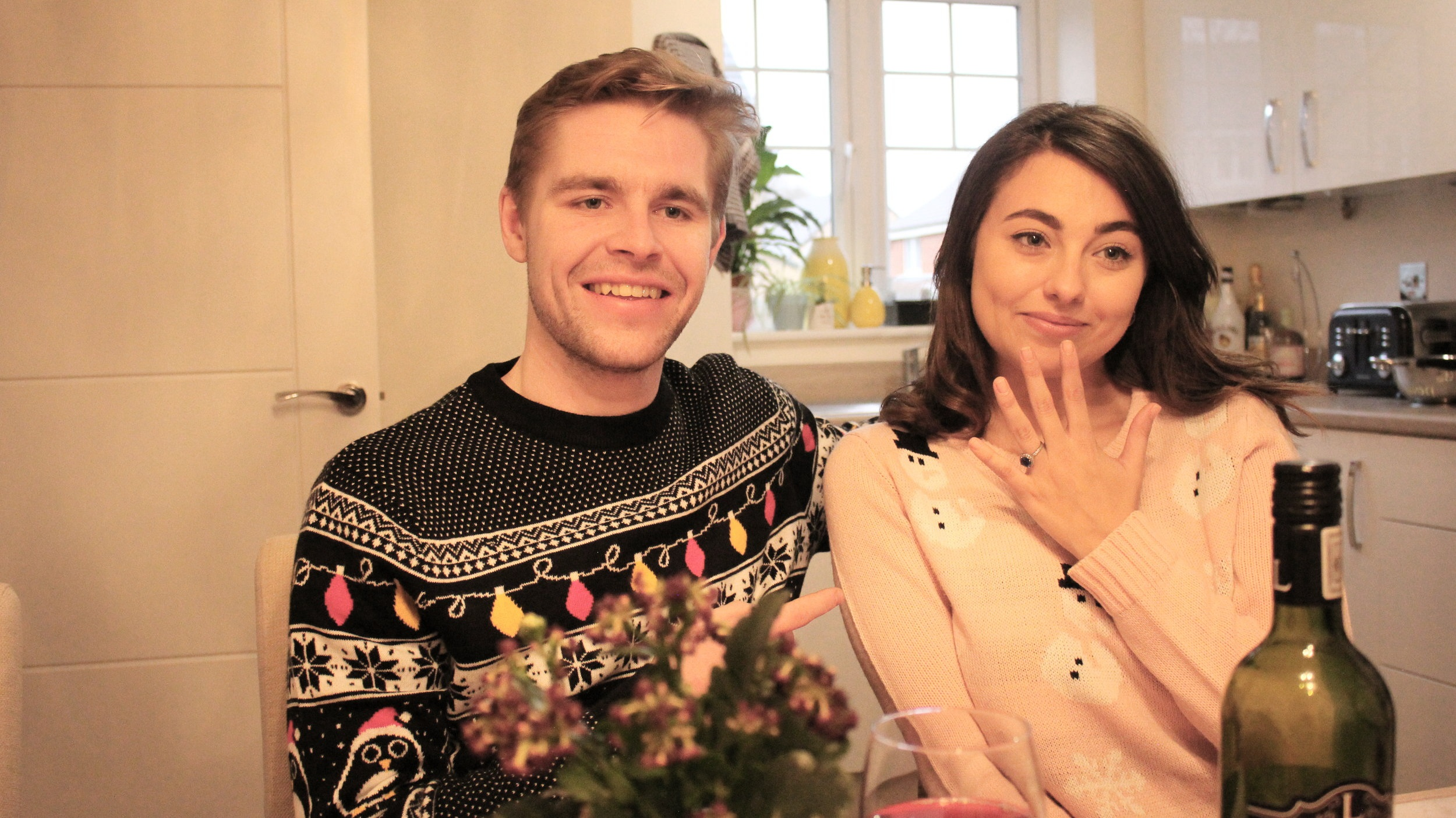 Still of Kiera and David Heslop as Melissa and Ben in Coming out for Christmas
