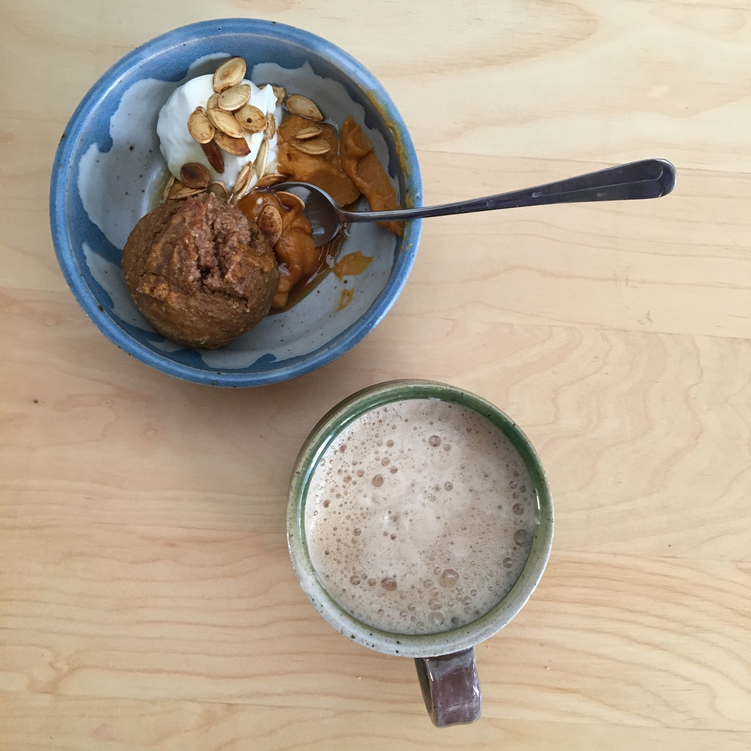 Breakfast often feels like poetry for me.  Here I quietly eat a sweet potato muffin with a side of full-fat yogurt and clasp my hands around a homemade latte for warmth.  My belly, heart and mind are one for a few delicious bites and sips.