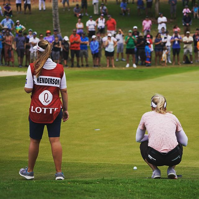 Brooke Henderson and her sister/ caddie Brittany have their eyes on the prize...if she wins, Brooke will be the first repeat champion in the 8 year history of #lottechampionship