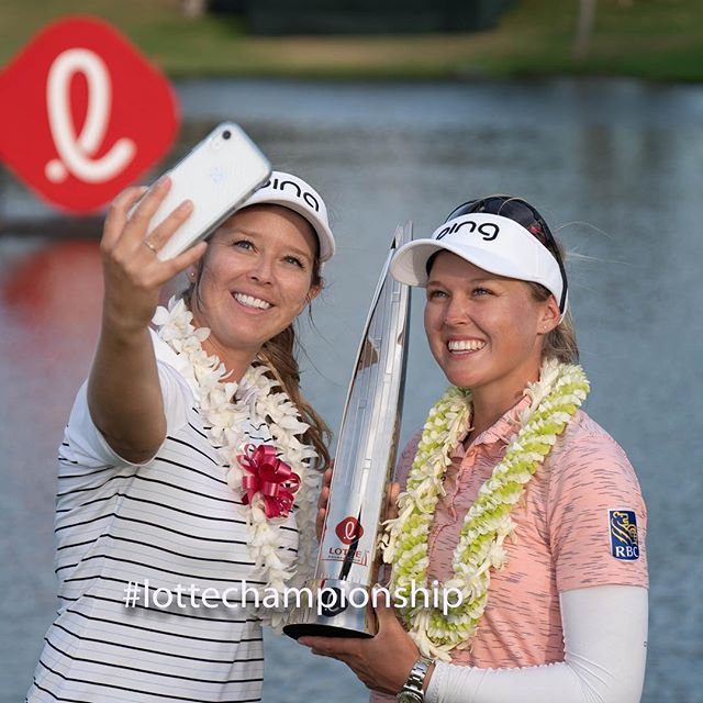 Sisters selfie!  2nd year in a row @brookehendersongolf holds the #lottechampionship trophy  alongside her sister/caddie Brittany #lpga #littlegirlsbigdreams 📷 @topher808