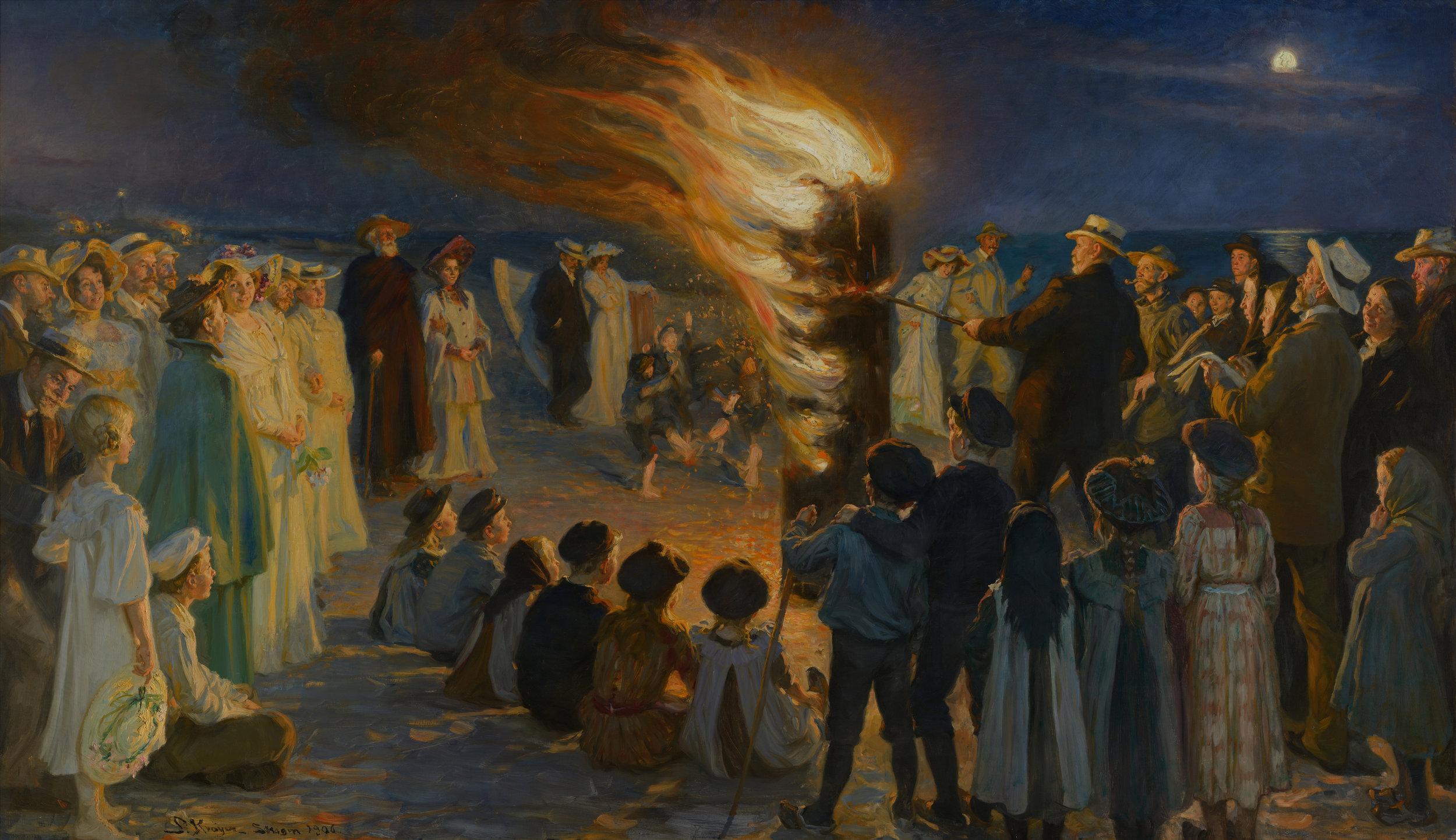 """P. S. Krøyer: """"Sankt Hansblus på Skagen strand"""", malet i 1906. Bemærk! Ingen tøjdukke er sat fast på bålet. Du kan se maleriet på Skagens Museum."""